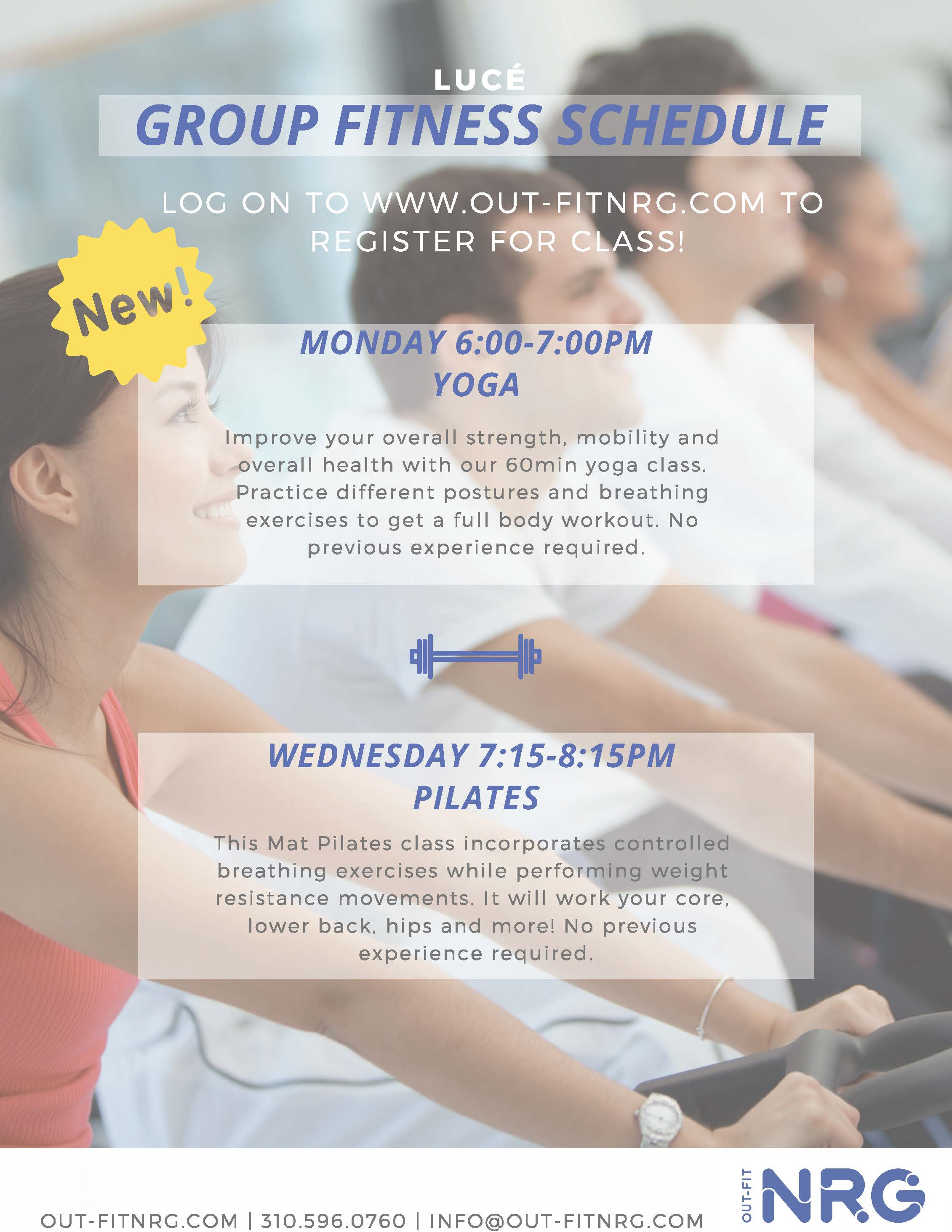 Register for classes today! - Are you a Lucé resident? Click below to book your next class!