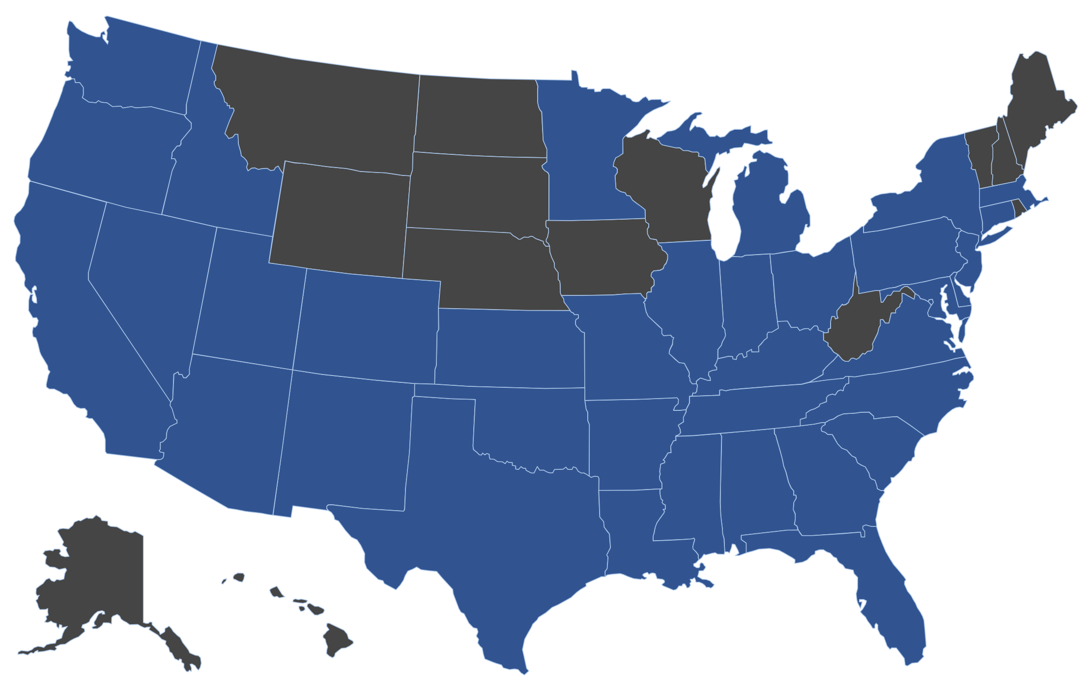 *States in blue denote a completed deal for an advisor on our team.