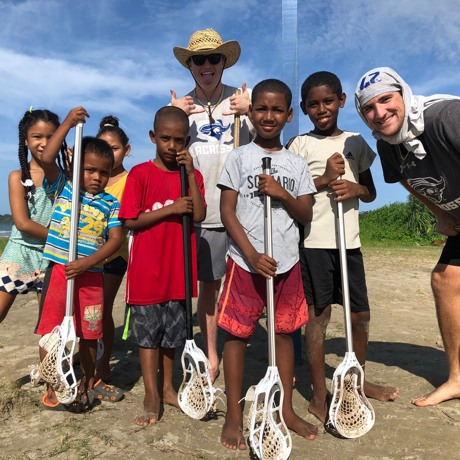 Anthony and teammates at LtN Practice during W&L and CNU Lacrosse's service trip week.