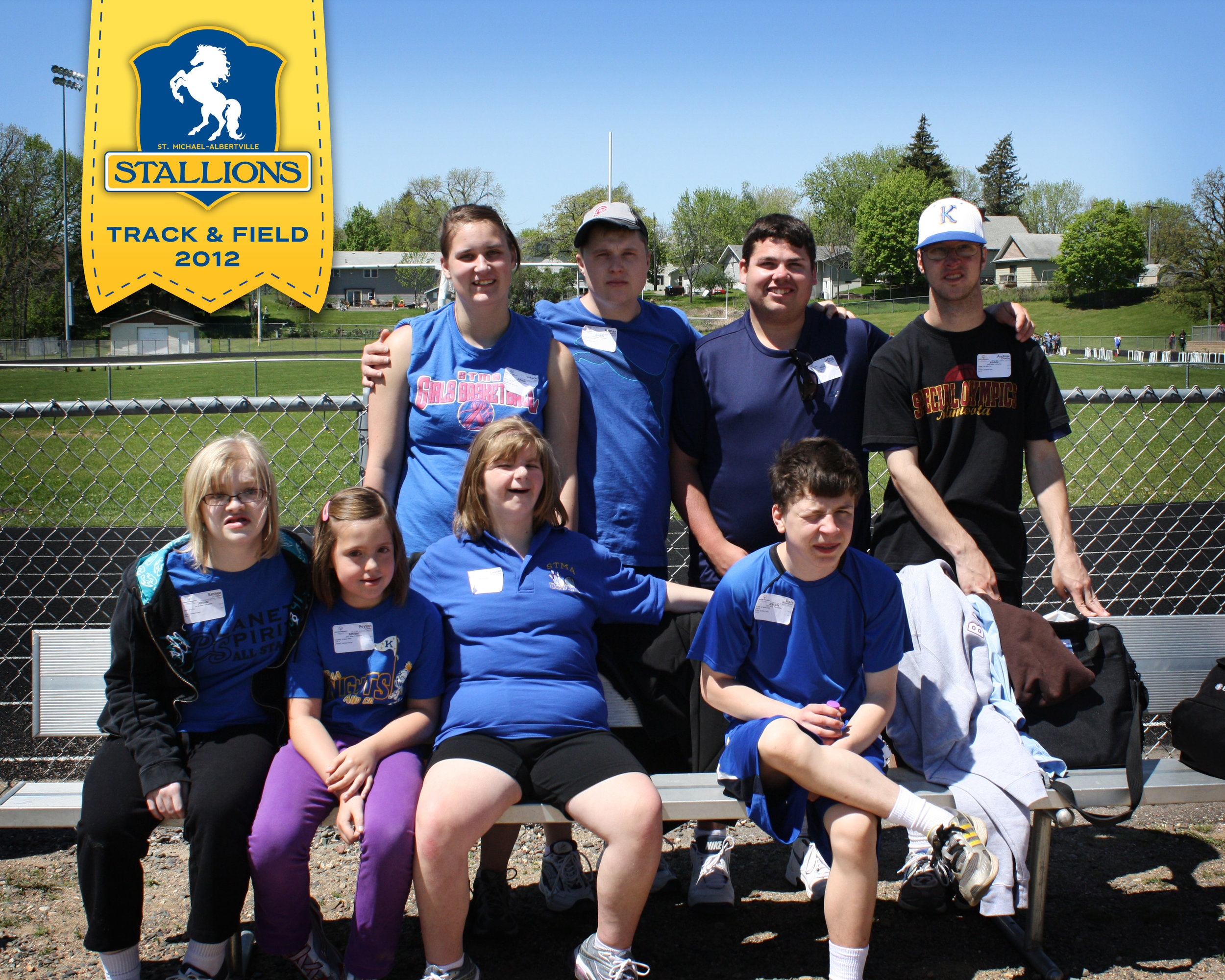 The very first Stallions group at the 2012 Area 7 Special Olympics Minnesota Track & Field meet ... my how we've grown!