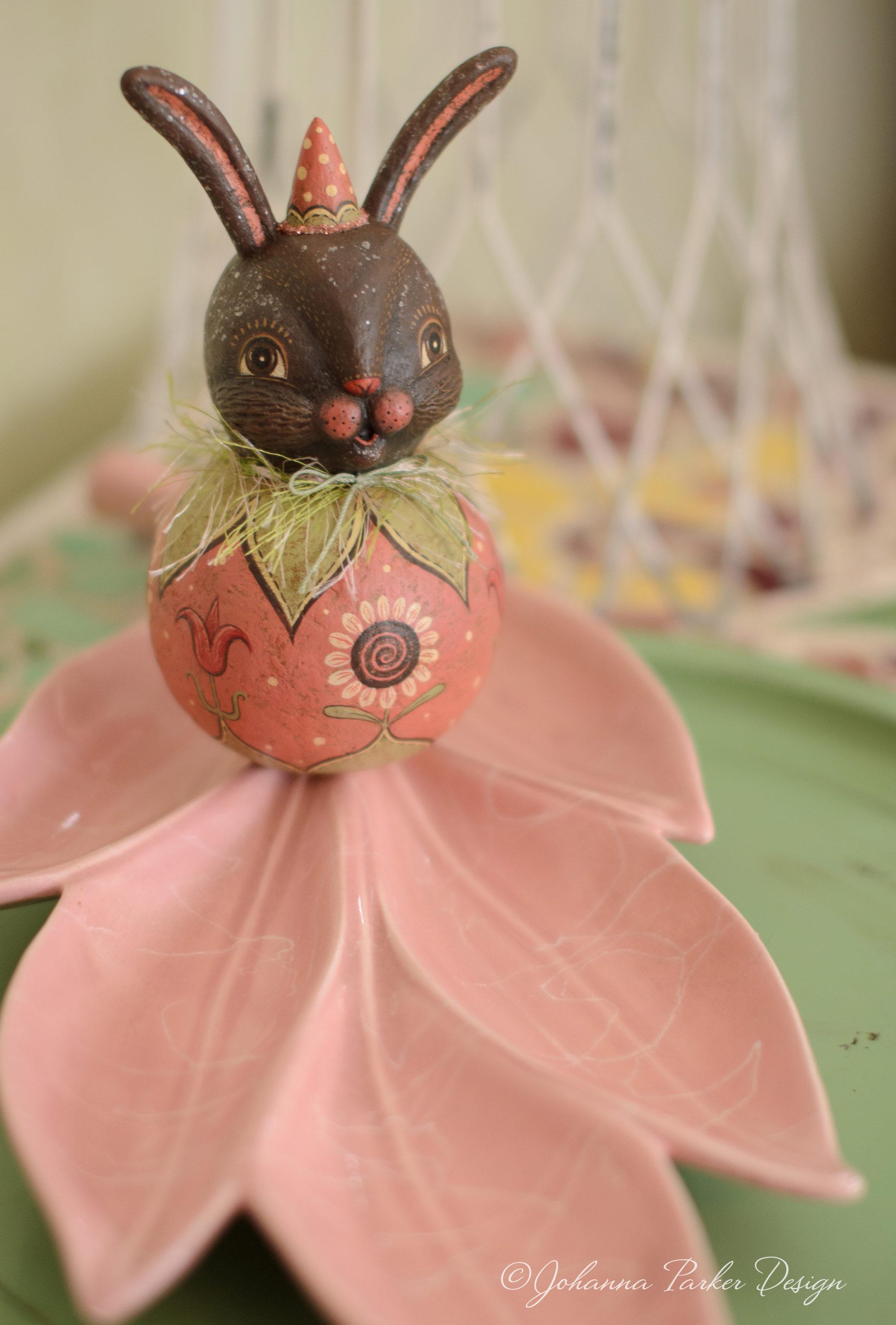 Pink bunny ball character