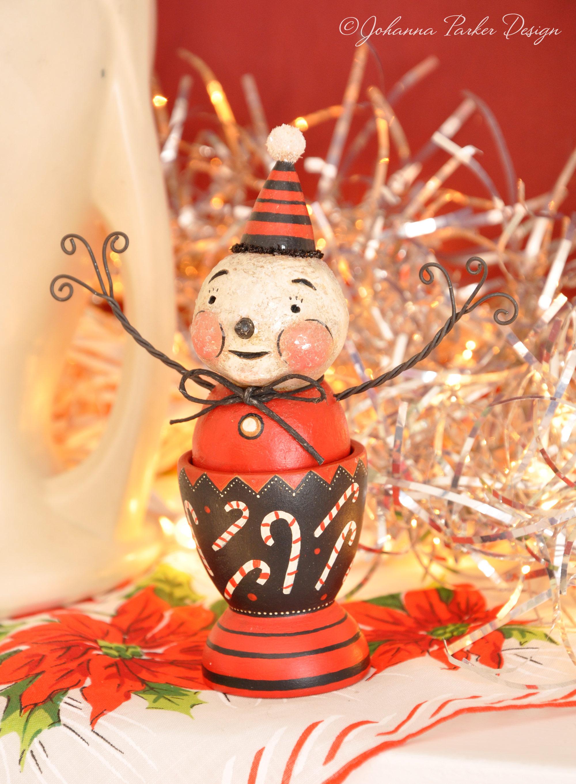 Peppermint snowman egg cup