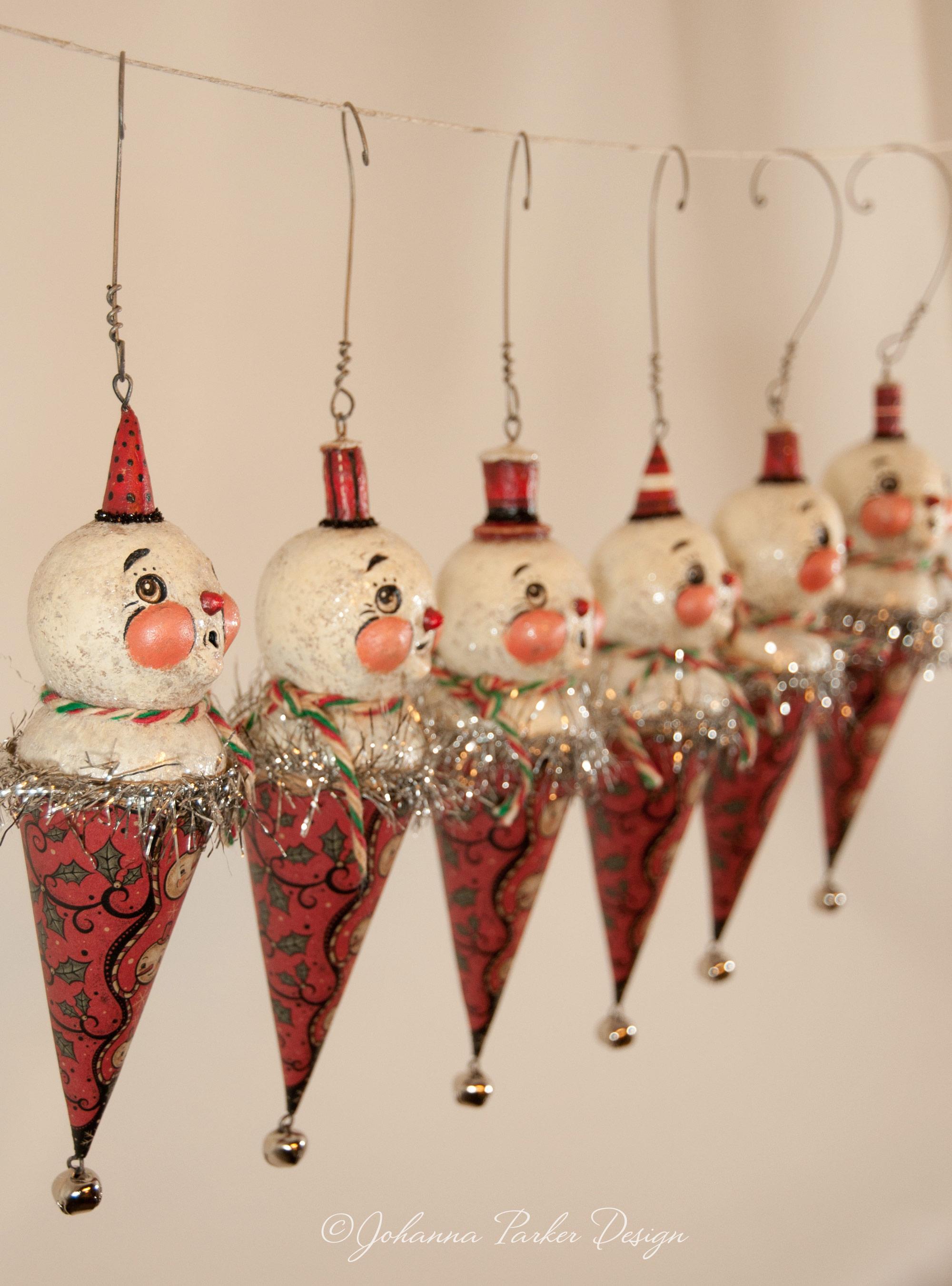Snowmen jingle cone ornaments