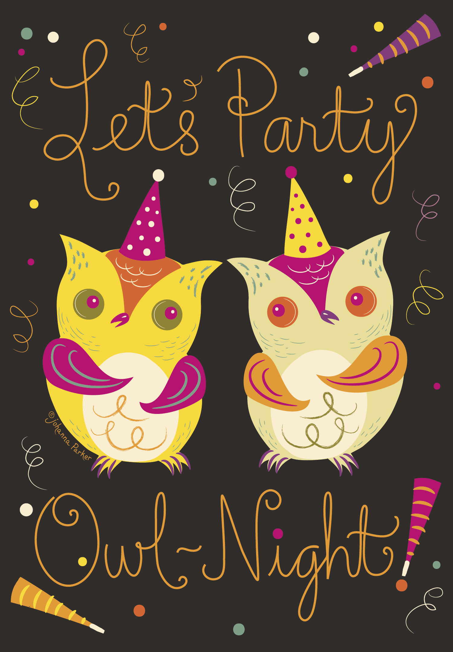 Let's party owl night