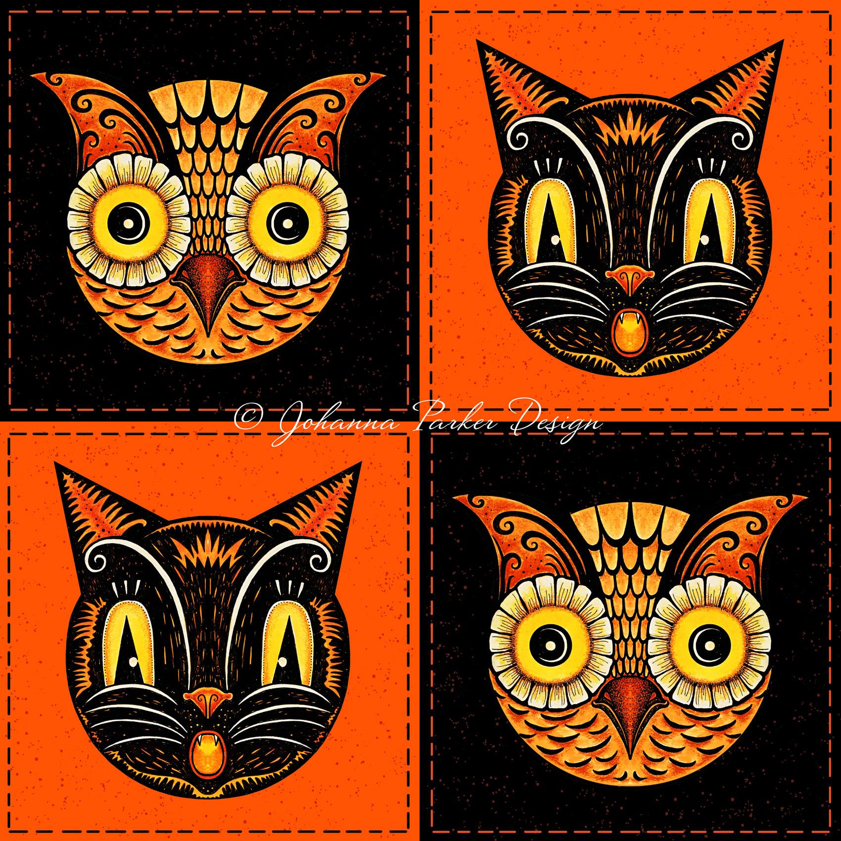 Round owl & cat checkerboard