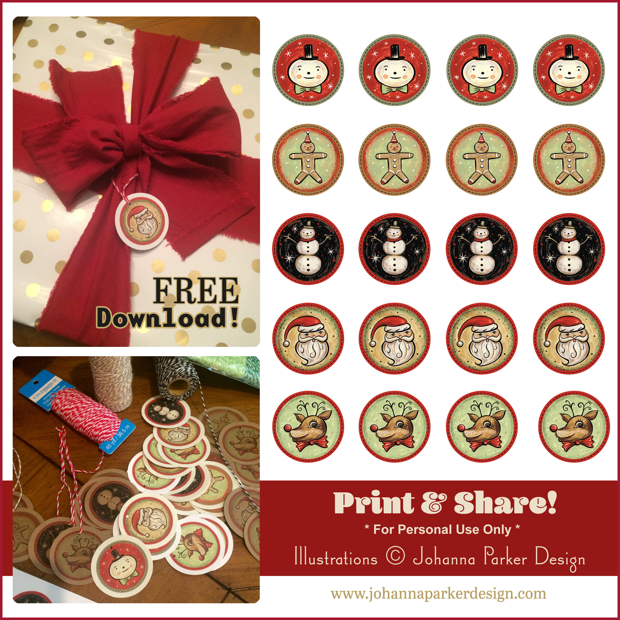 Rustic Santa, gingerbread boy, snowmen and reindeer gift tags... for Christmas!