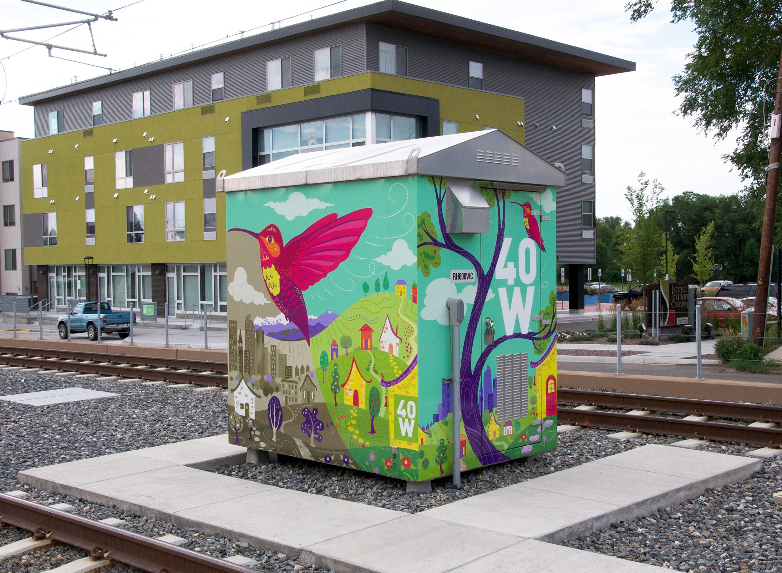 """Buzzing with Color"" - 13th & Lamar RTD utility box wrap - Lakewood, Colorado"