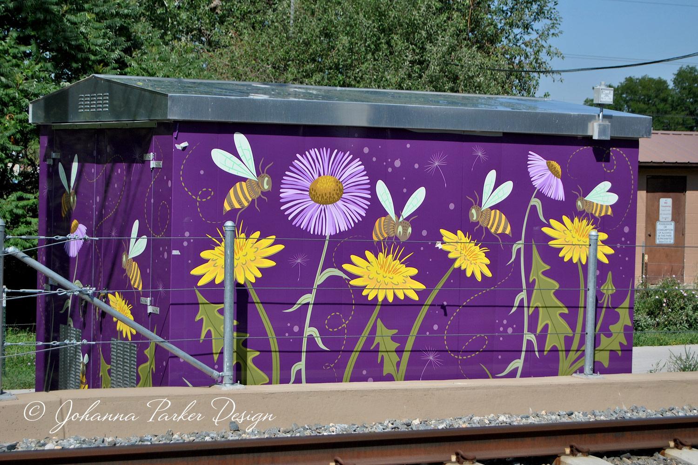 """Bee Safe"" - James J. Richey Park - 13th & Dudley RTD utility box wrap - Lakewood, Colorado"