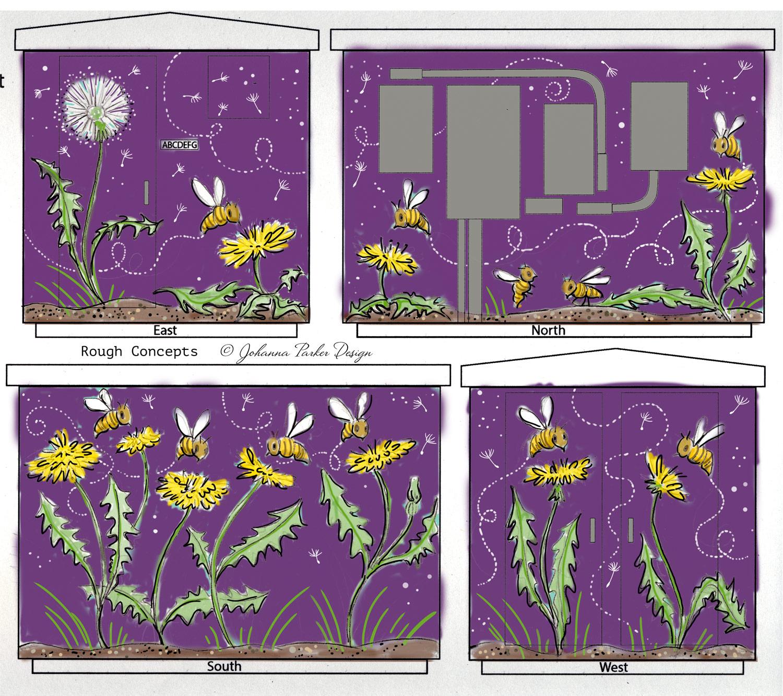 Bee Safe box wrap sketch RTD