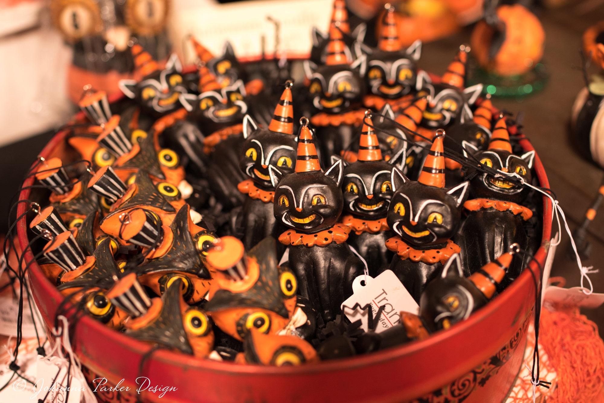 Johanna-Parker-Halloween-black-cat-owl-ornaments