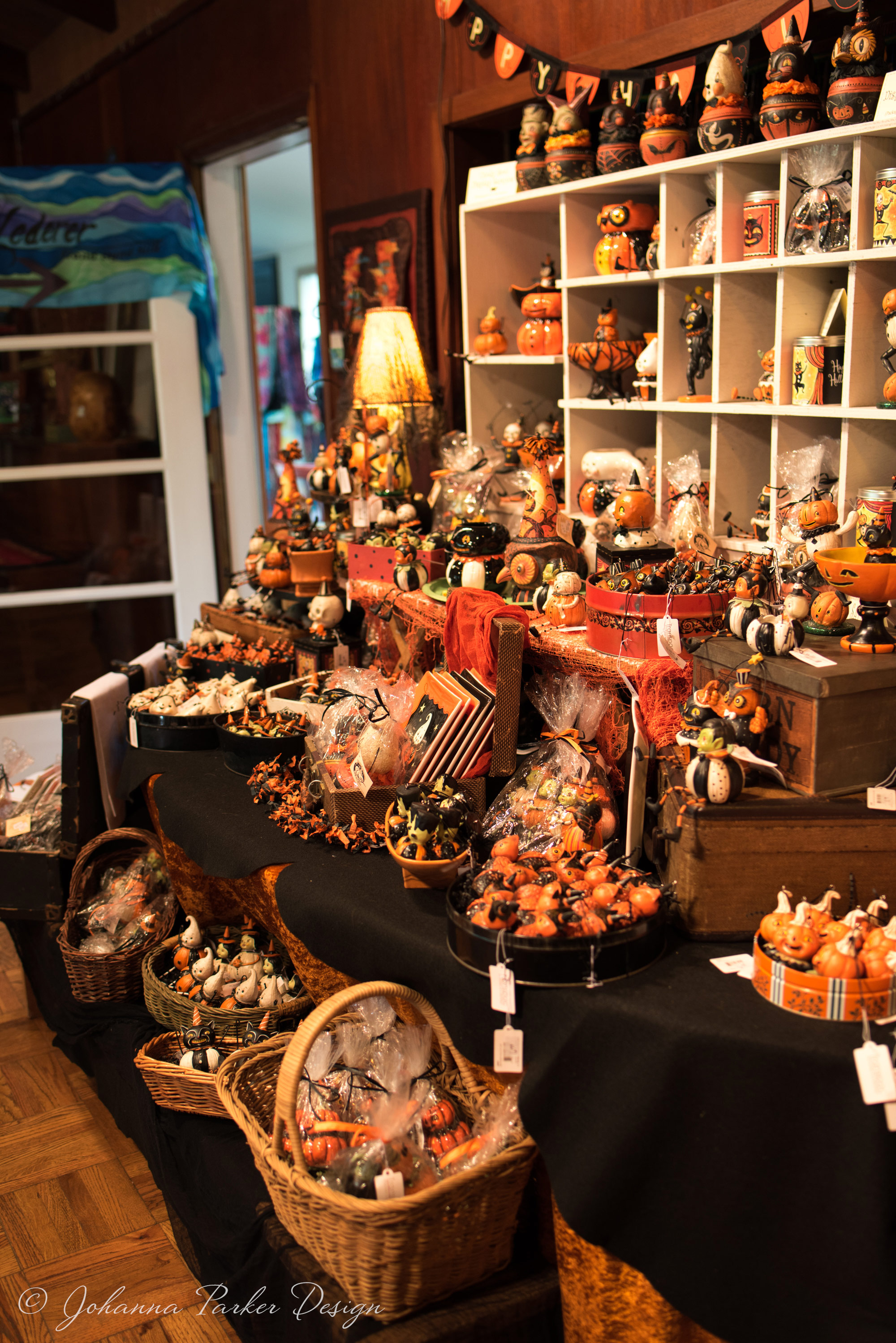 Beyond my spooky display, an open door lead the way to Ann's colorful painted silks...