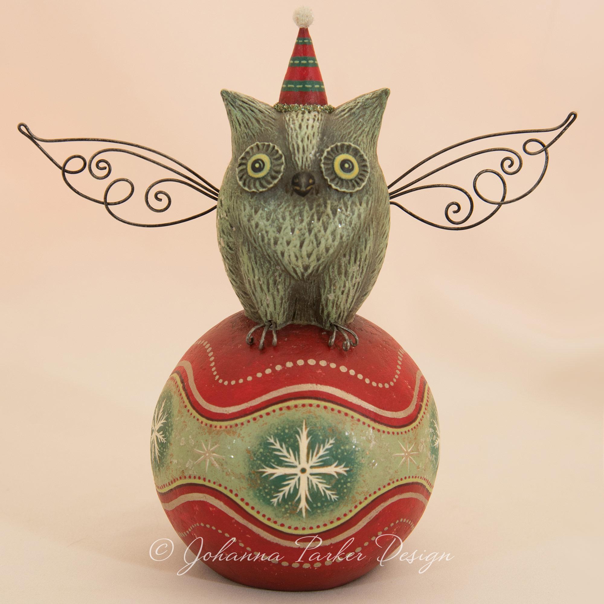 Holiday Perched Folk Art Owl