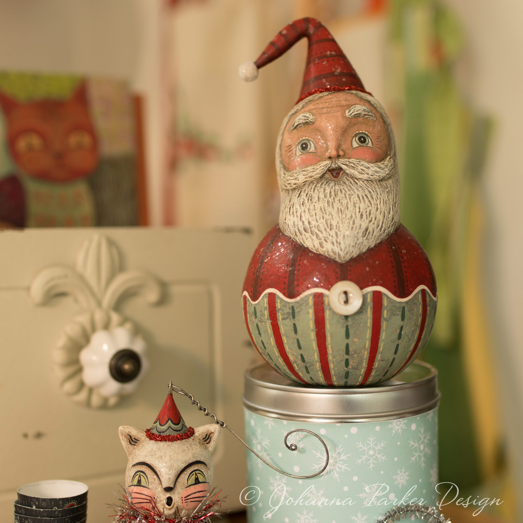 Folk Art Striped Santa Ball