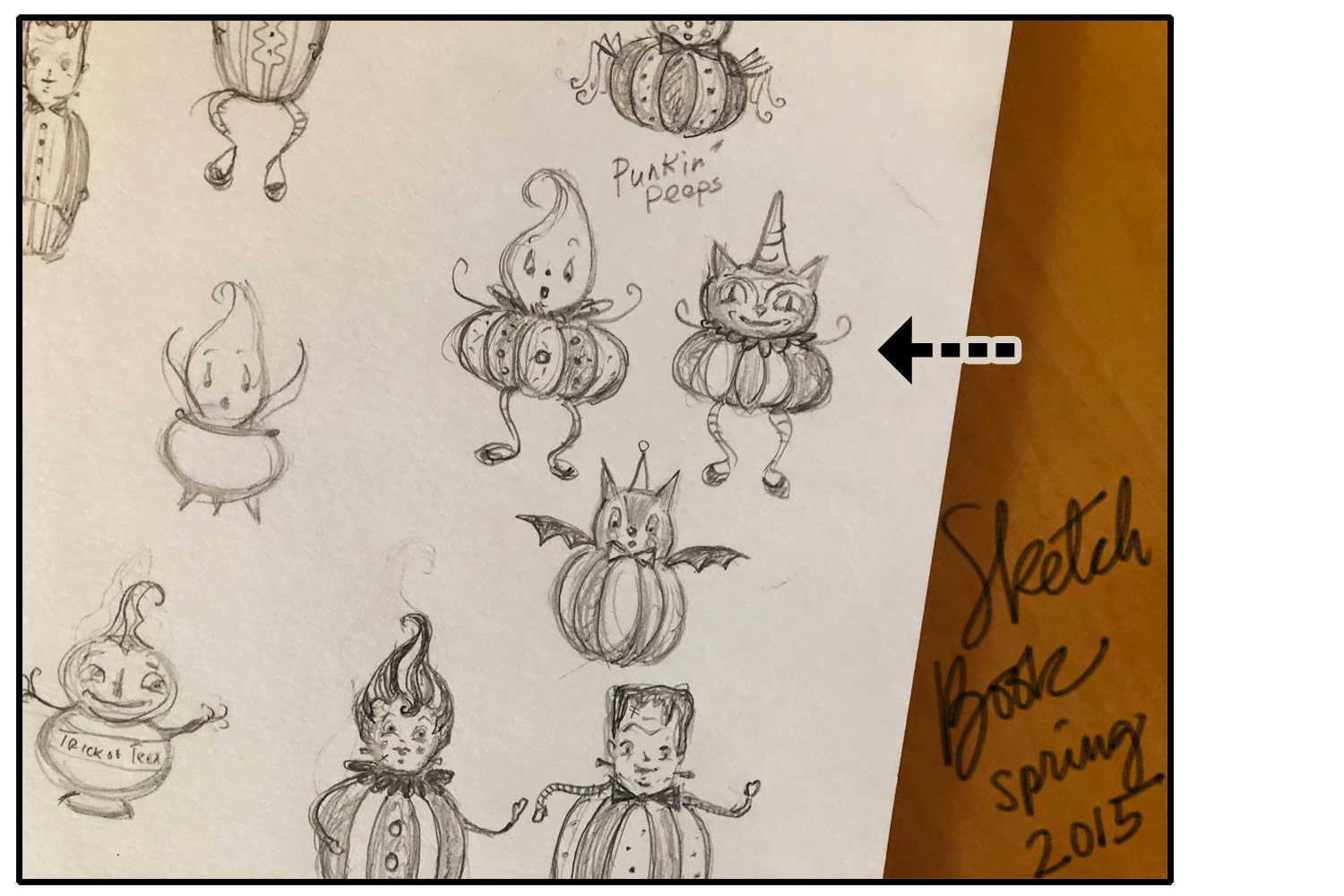 This is a photo snap from an older sketch book of ideas from 2015.... If you're familiar with my Halloween product line through Transpac Imports, you'll recognize several of my characters here in their early, raw stages- straight from imagination to paper! I guess you could say that this is where they were born :) And notice at this initial stage, the black cat has arms and legs...
