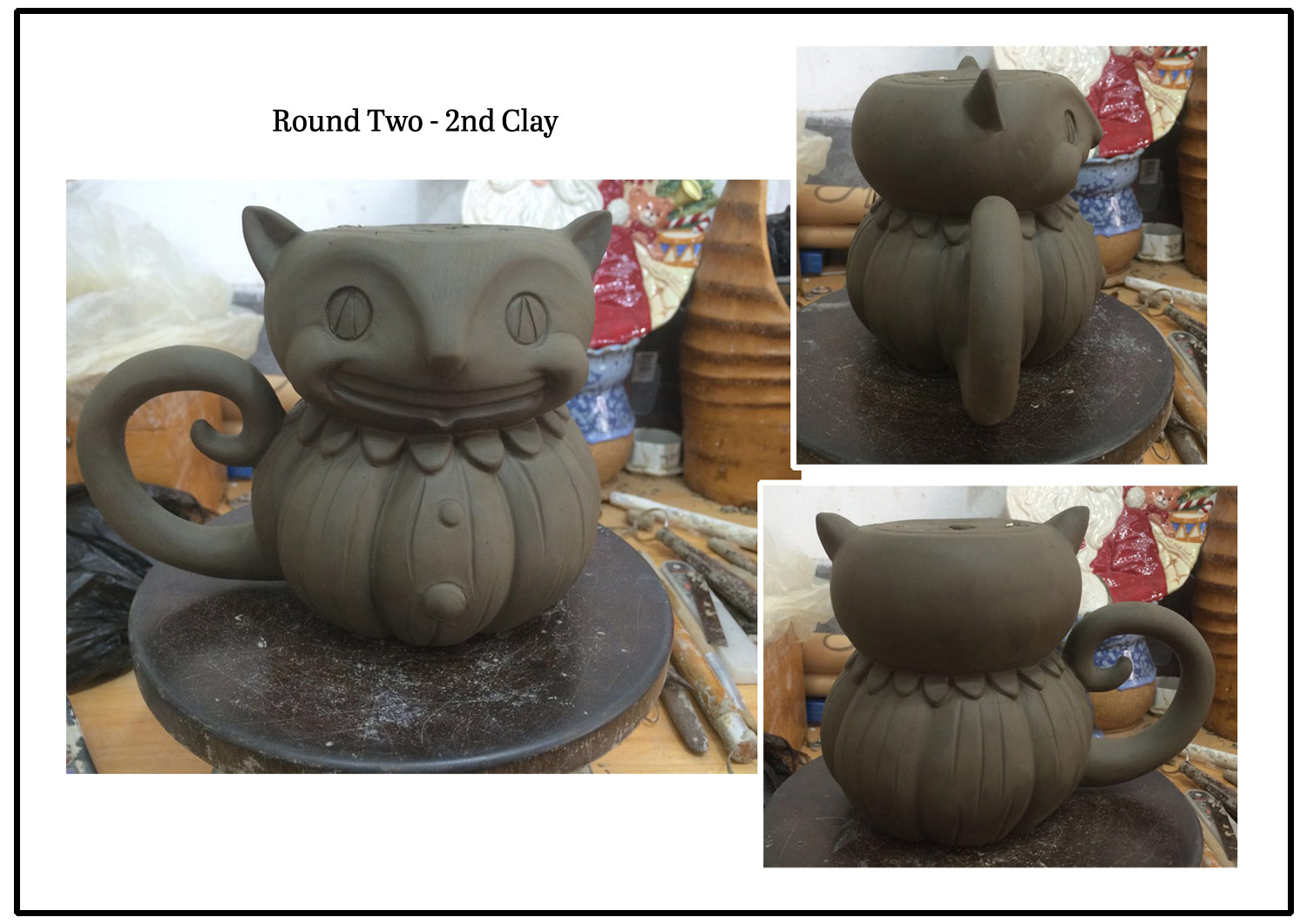 Round Two - 2nd Clay... A few things were looking off still, including the funky dip in the chin.. So, here comes another Fix-It graphic. Yes, my black cats are dear to me, so I was extra particular about this guy.