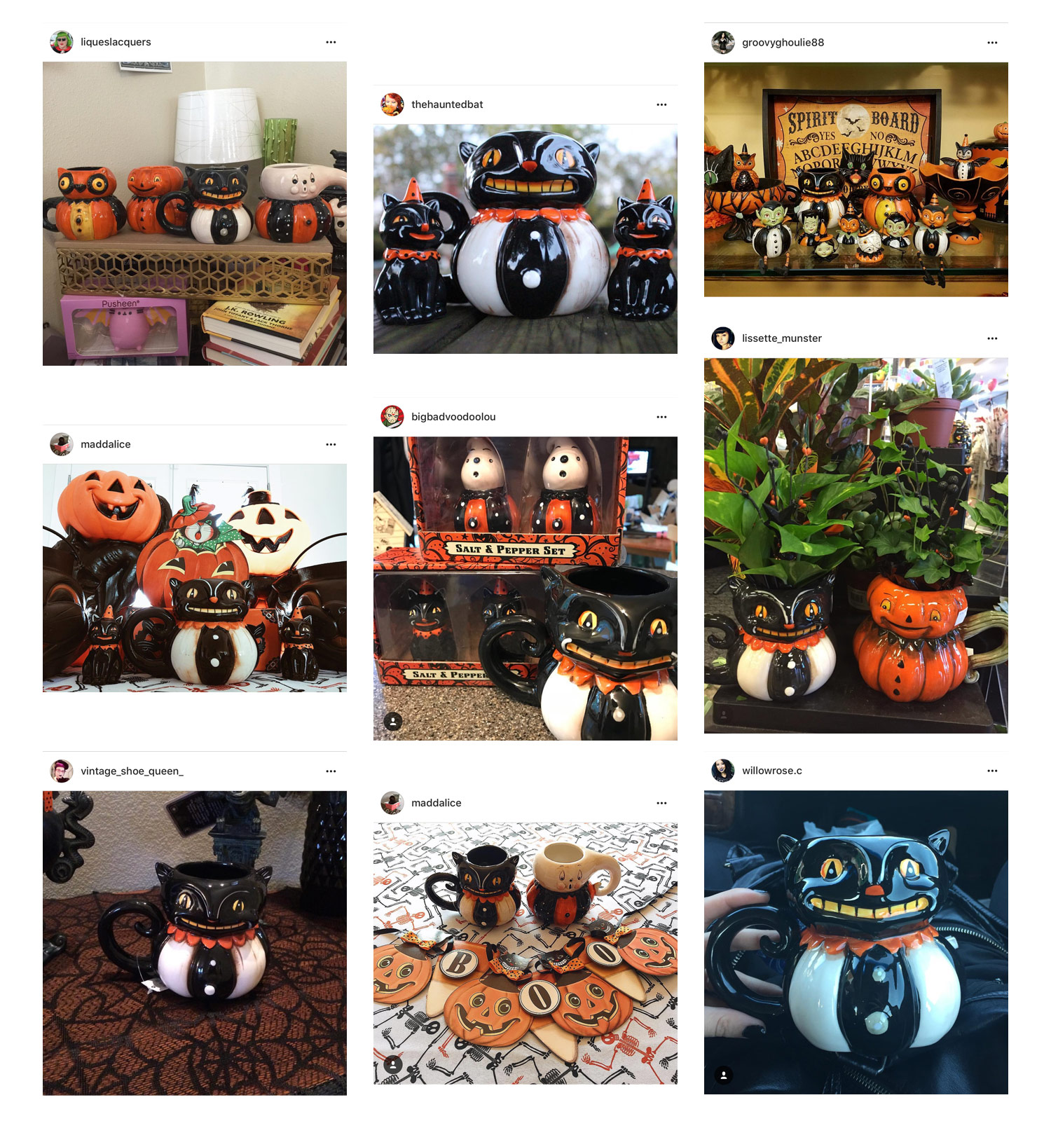 Sharing some photos where I was tagged on Instagram by fans who were thrilled about their new Johanna Parker Design black cat mugs...Your enthusiasm is contagious!
