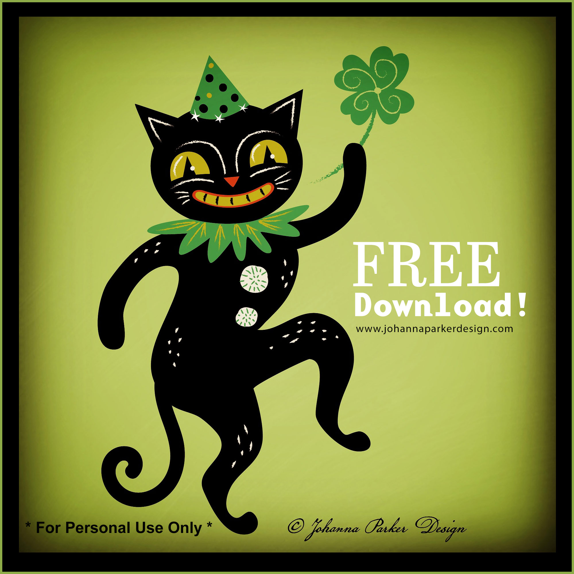"* Enjoy our FREE ""Lucky Jack-Jack"" grinning black cat print for personal use!"