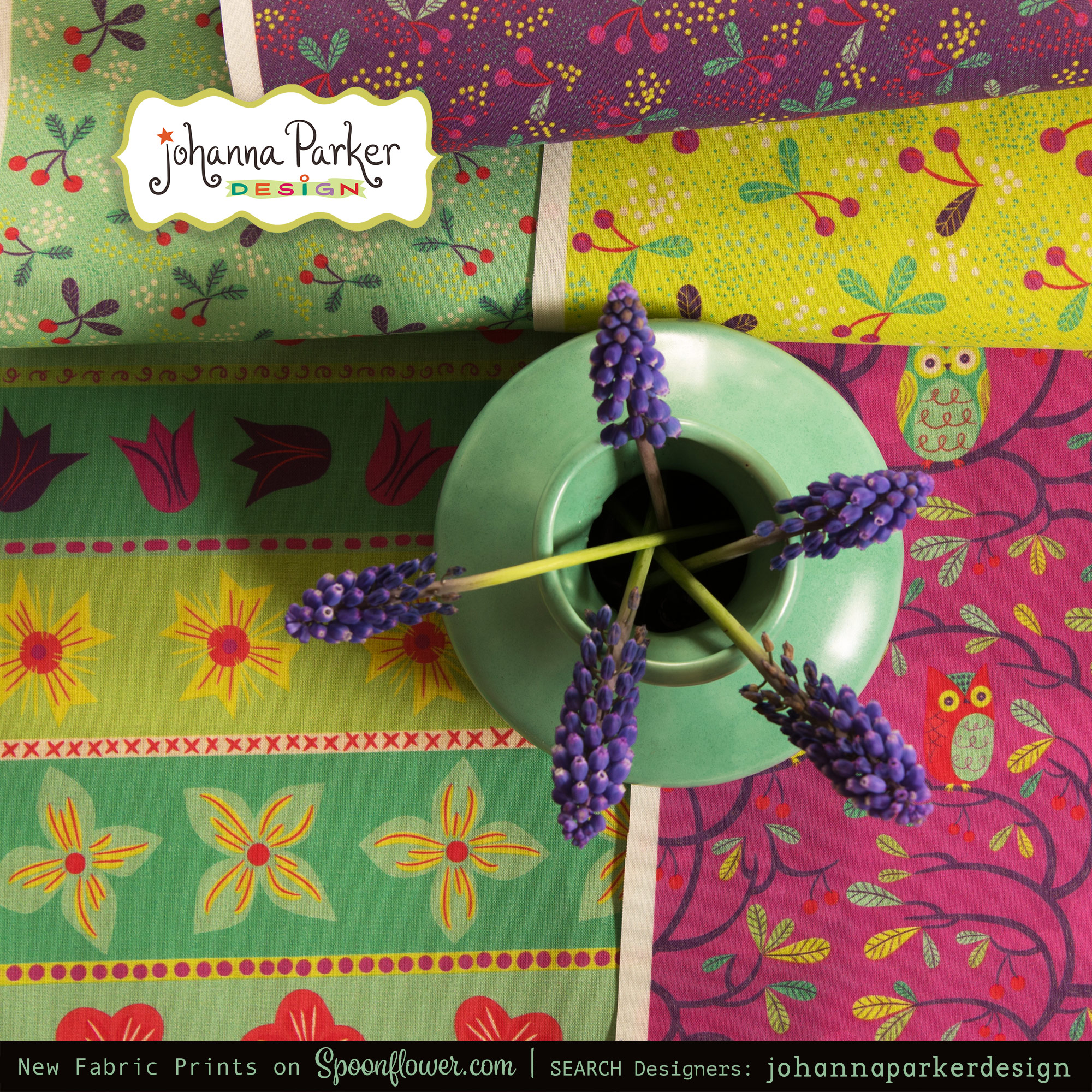 Pictured here are playful designs from my  Hooty Tooty Fruity  Collection!