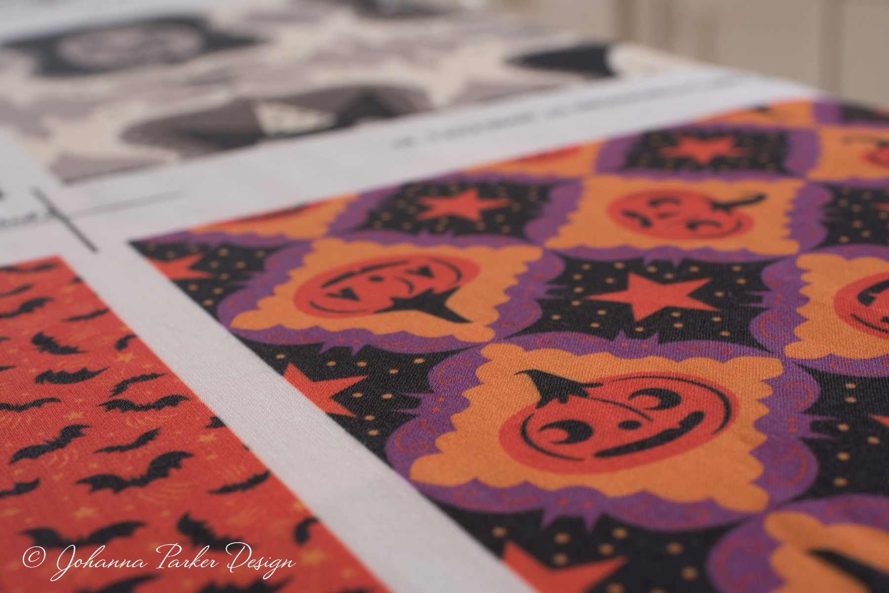 A fun & festive pair:  Wild Bats on Orange small  ~ and ~  Purple Bat Frame Jack-o'-lanterns