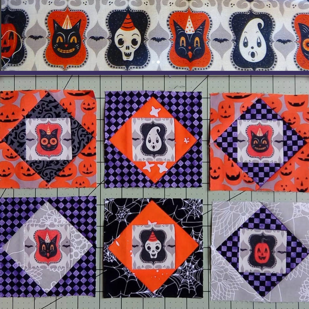 "Work in Progress quilt squares by @BarbBrandt3 (on Instagram) featuring Johanna Parker Design Halloween fabric on each center from Spoonflower.  GET: ""Ghost Frame Spooks"""