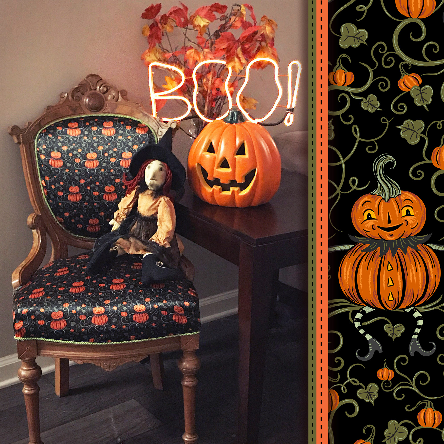 "Upholstered & upcycled chair by @LibraLooksDesign (on Instagram) using Johanna Parker Halloween fabric from Spoonflower.  GET: ""Jack Vine Sitter"""