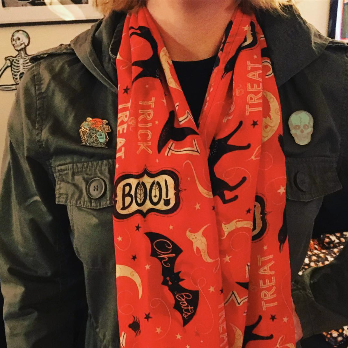"Handmade silk scarf by @ssaunders84 (on Instagram) using Johanna Parker Design Halloween fabric from Spoonflower.  GET: ""Vintage Halloween Trick or Treat Boo"""