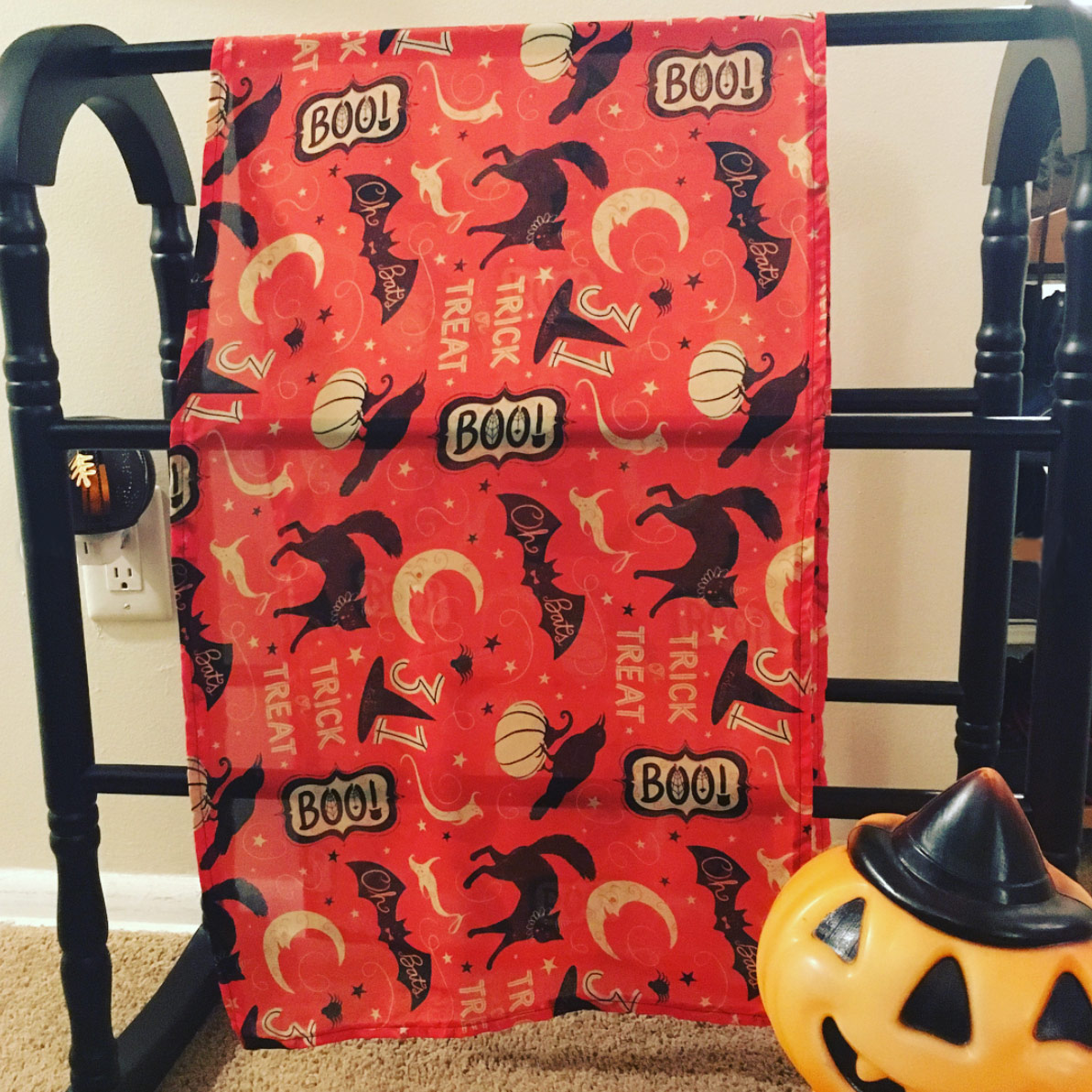 "Draped silk scarf by @ssaunders84 (on Instagram) using Johanna Parker Halloween fabric from Spoonflower.  GET: ""Vintage Halloween Trick or Treat Boo"""