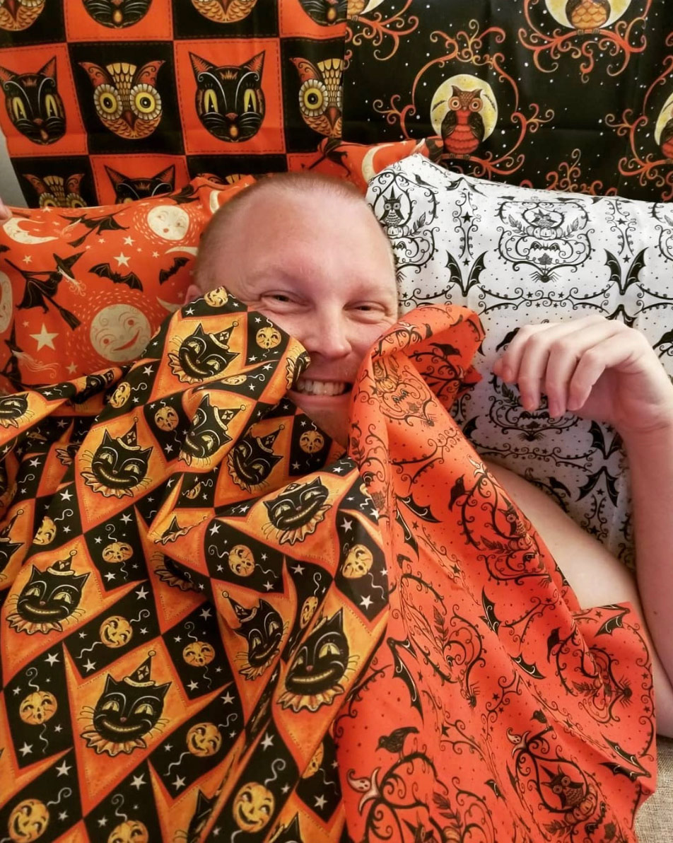 "A sampling of cozy fat quarters pictured with @tiki30 (on Instagram) ~ all Johanna Parker Halloween fabric from Spoonflower.   VIEW ALL: ""Halloween by Johanna Parker"""