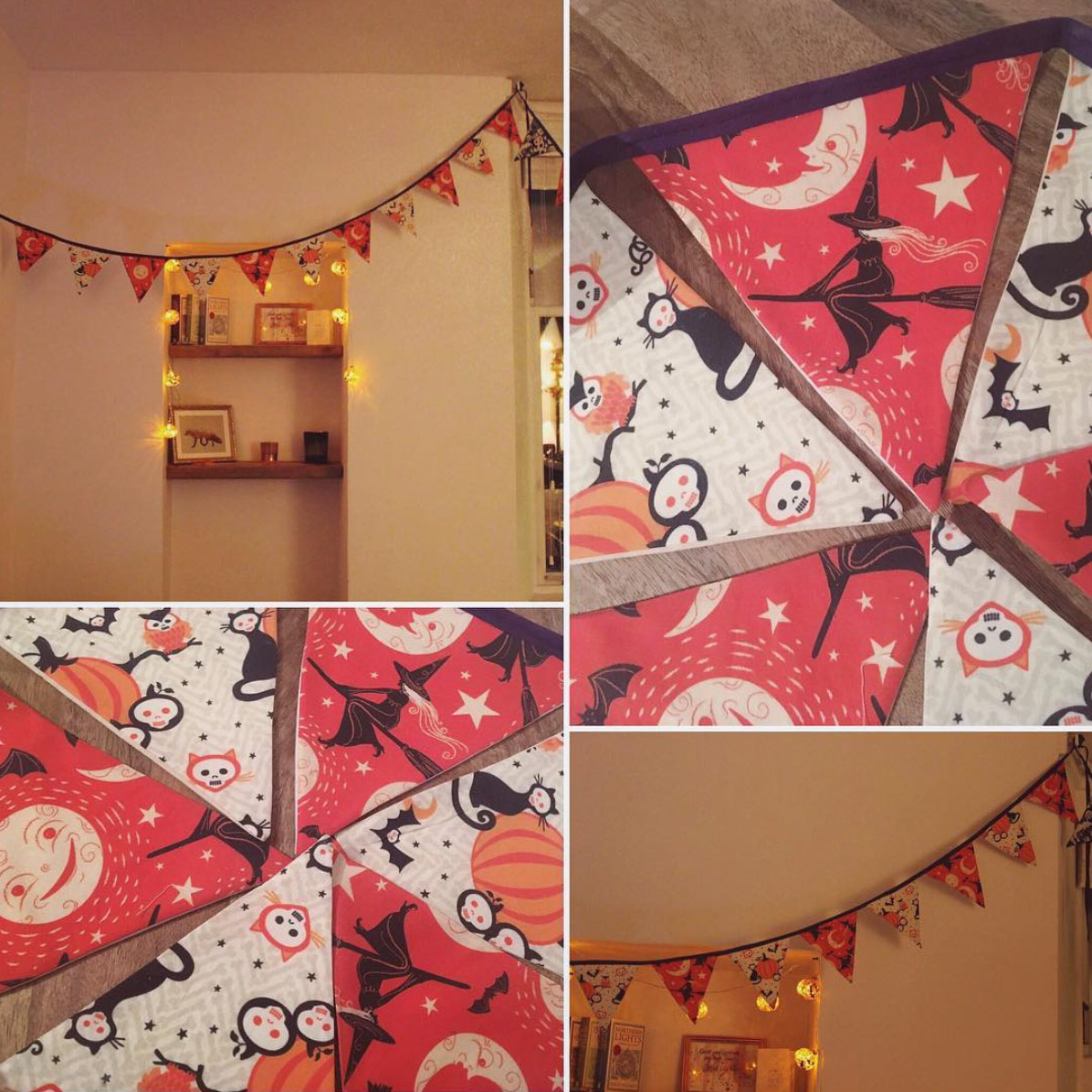 "Halloween pennant flags made by @WeeHomeBird (on Instagram) using alternating Johanna Parker Halloween fabric from Spoonflower.  GET: ""Broom Ride"""