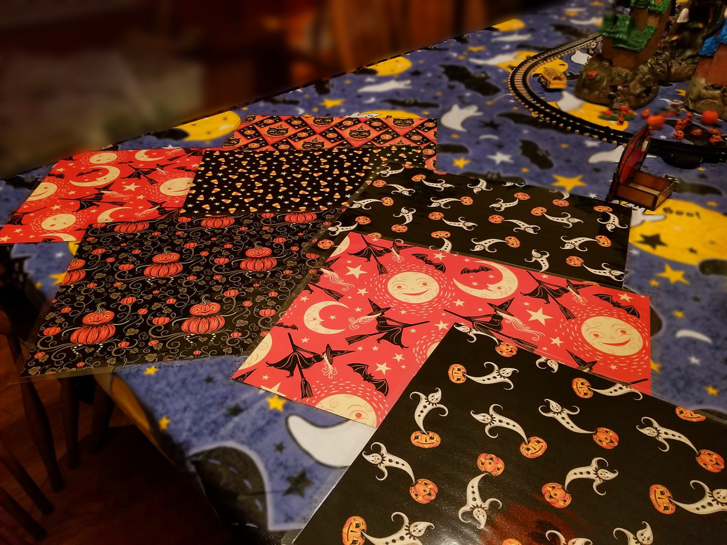 "Laminated placemats, handmade by Marie Markowski, using Johanna Parker Halloween wrapping paper from Spoonflower.  VIEW ALL: ""Halloween by Johanna Parker"""