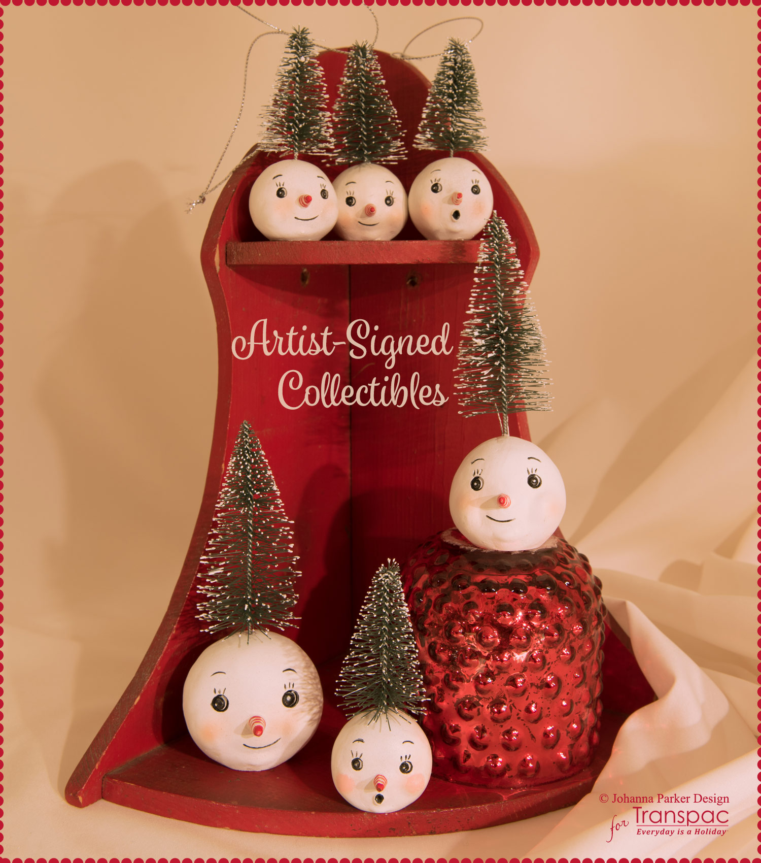 """Let it Snow Set"" - All pieces are from Johanna's new line of Christmas collectibles, manufactured by Transpac Imports. Each is hand-painted and may have slight imperfections due to the nature of the material and molding process. Each Collectible is Signed."