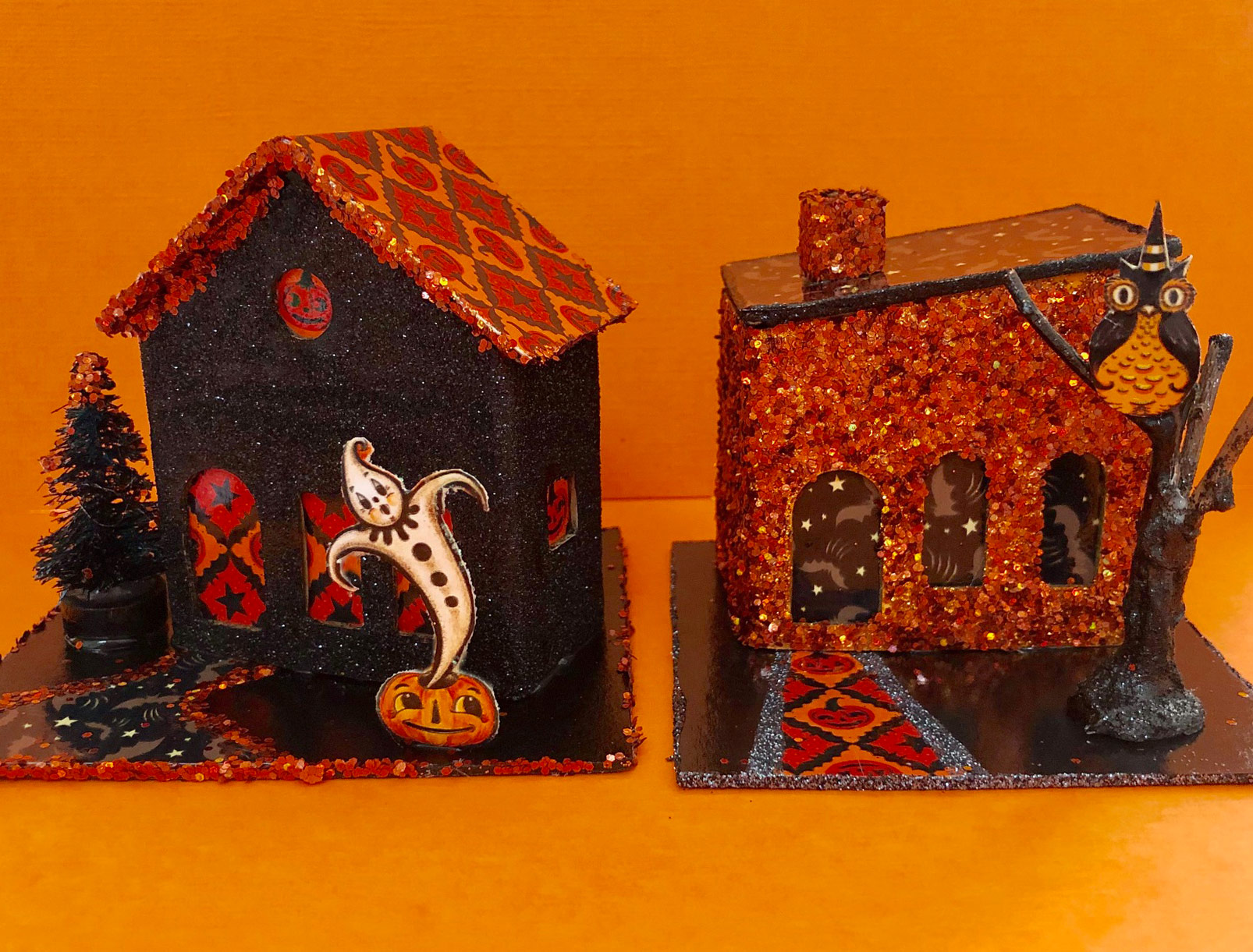 NEW Halloween Putz Houses handmade by Clara using Johanna's playful patterns and whimsical Halloween characters!