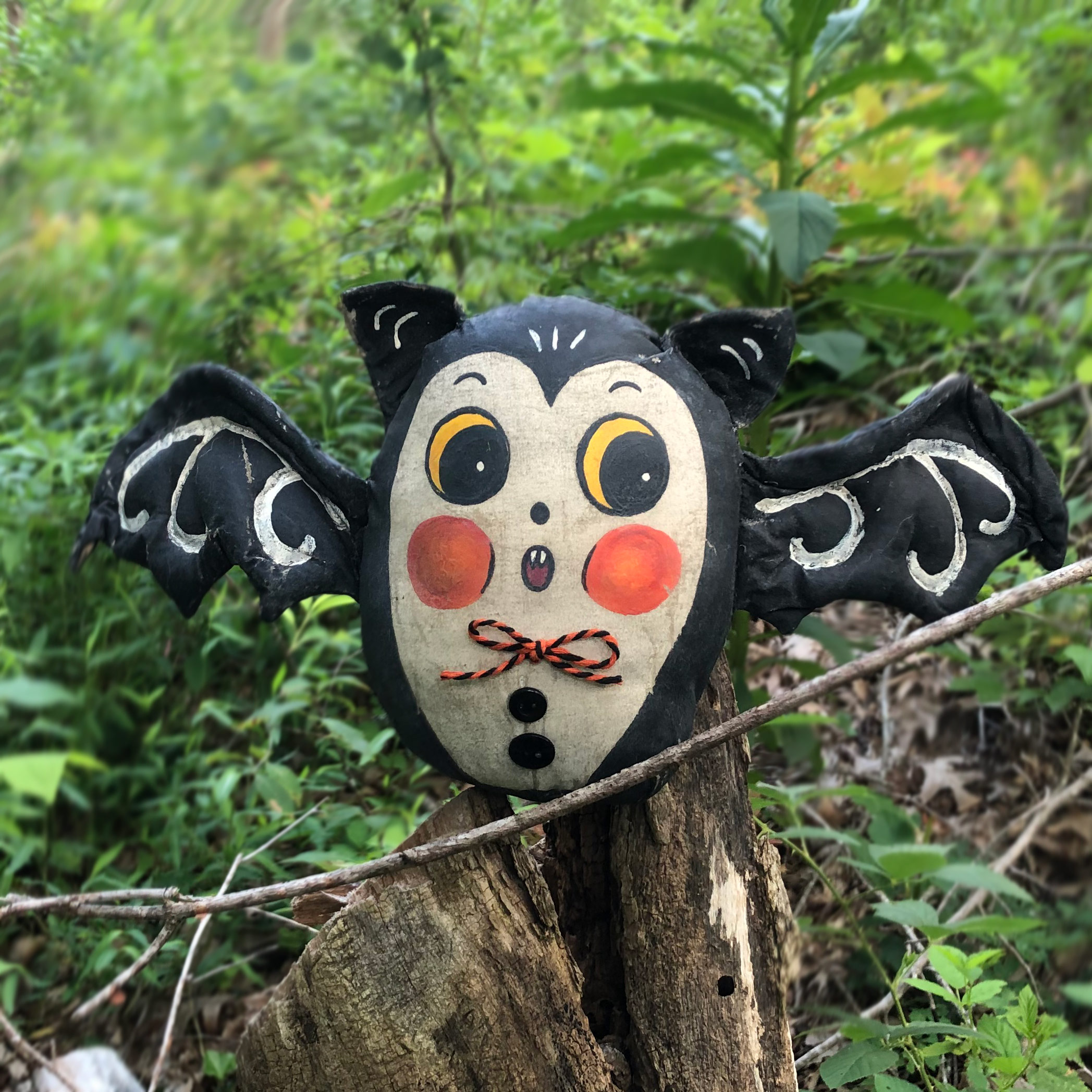 JPD Partners in Craft * Amber's Imagination Co. + Johanna Parker Design * Artist Collaboration ~ Hand-sewn, painted and distressed weighted bat with posable wings!