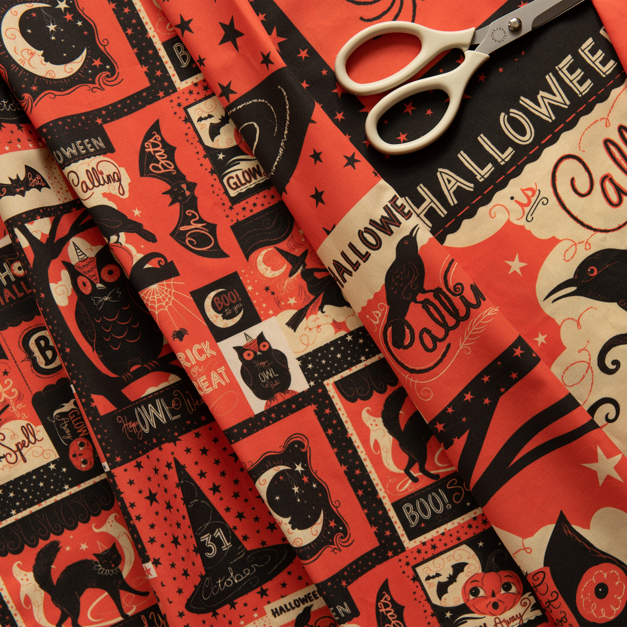 "NEW ""Vintage Halloween Patchwork""  prints, available in   LARGE   &   SMALL  … Perfect for Cut & Sew projects, quilts, retro fashions, etc…"