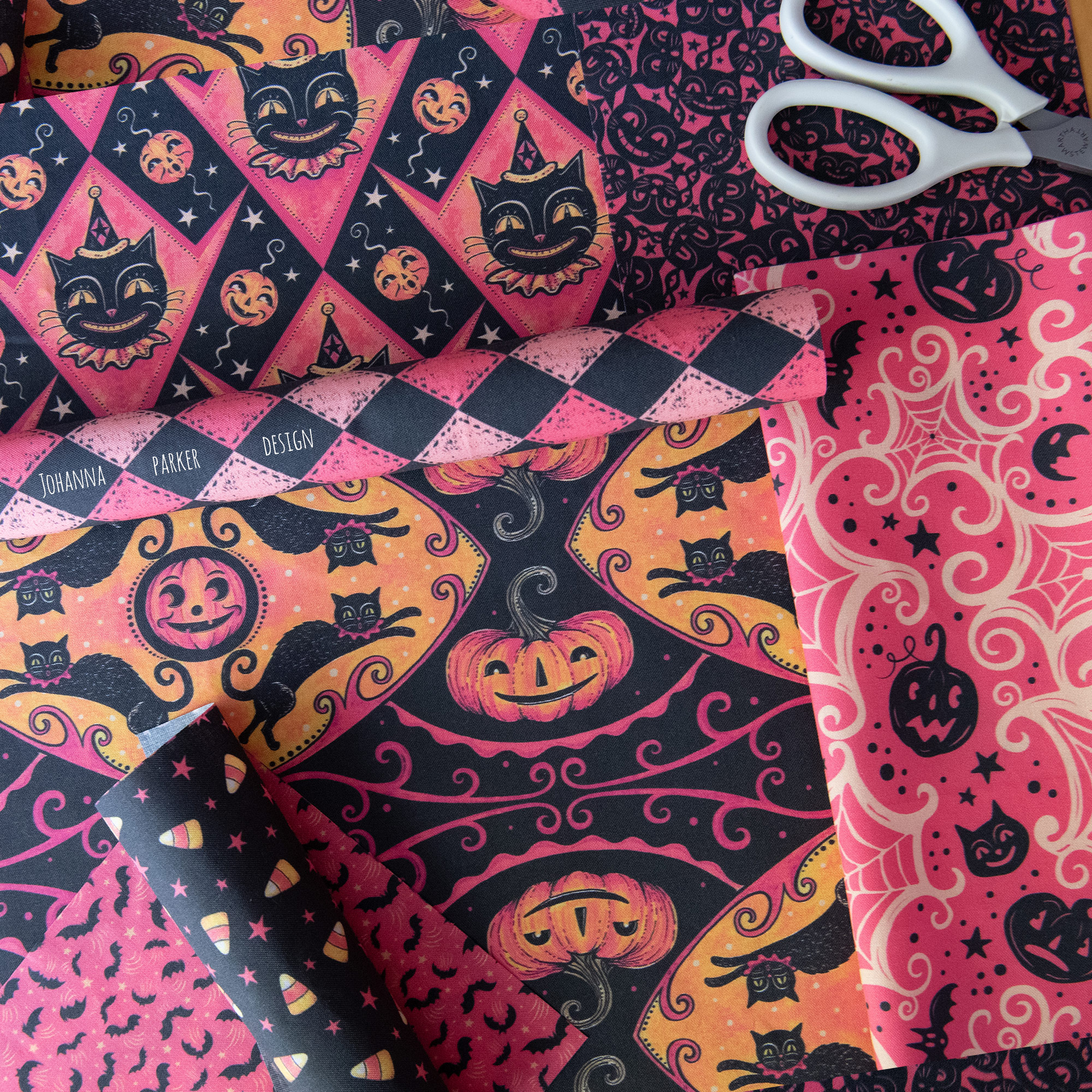 "Johanna's NEW   ""Pink Halloween""   Collection, only on Spoonflower!"