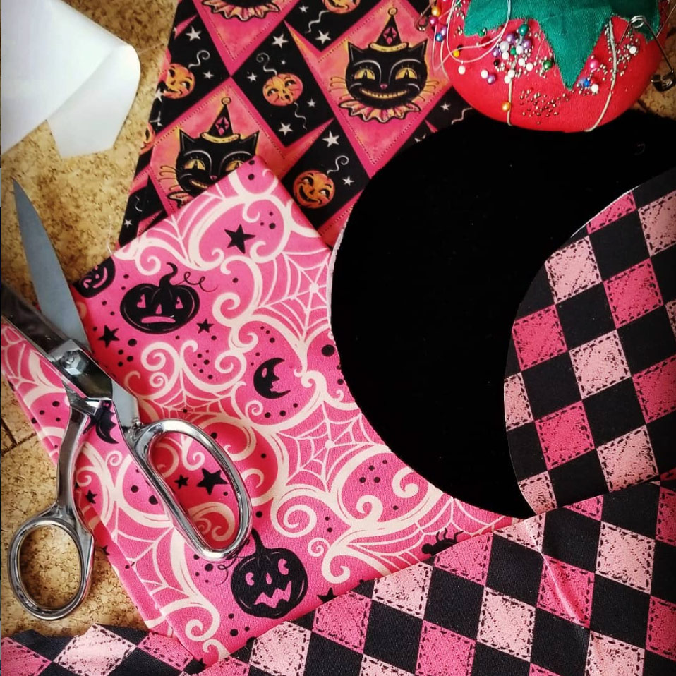 Halloween in Pink project in the works from @WickedThreads58 (on Instagram) using Johanna Parker Design Halloween fabric from Spoonflower.  GET: Pink Halloween