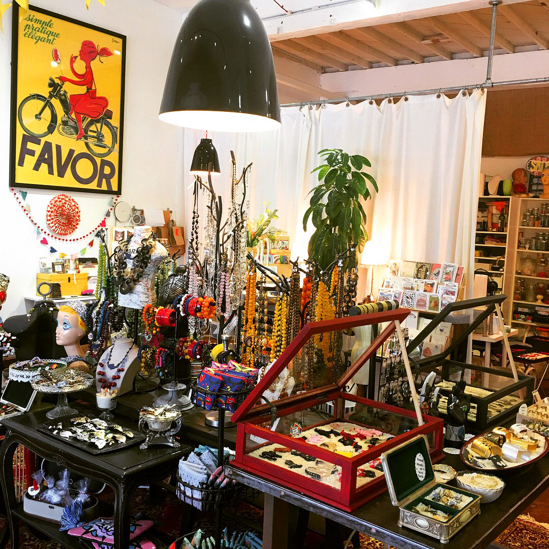 A peek inside Caramia's shop reveals vintage delights and handmade jewelry galore!