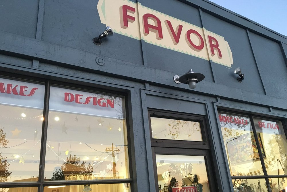 The storefront of FAVOR in Berkeley, CA - Home to Caramia's Shop & Studio!
