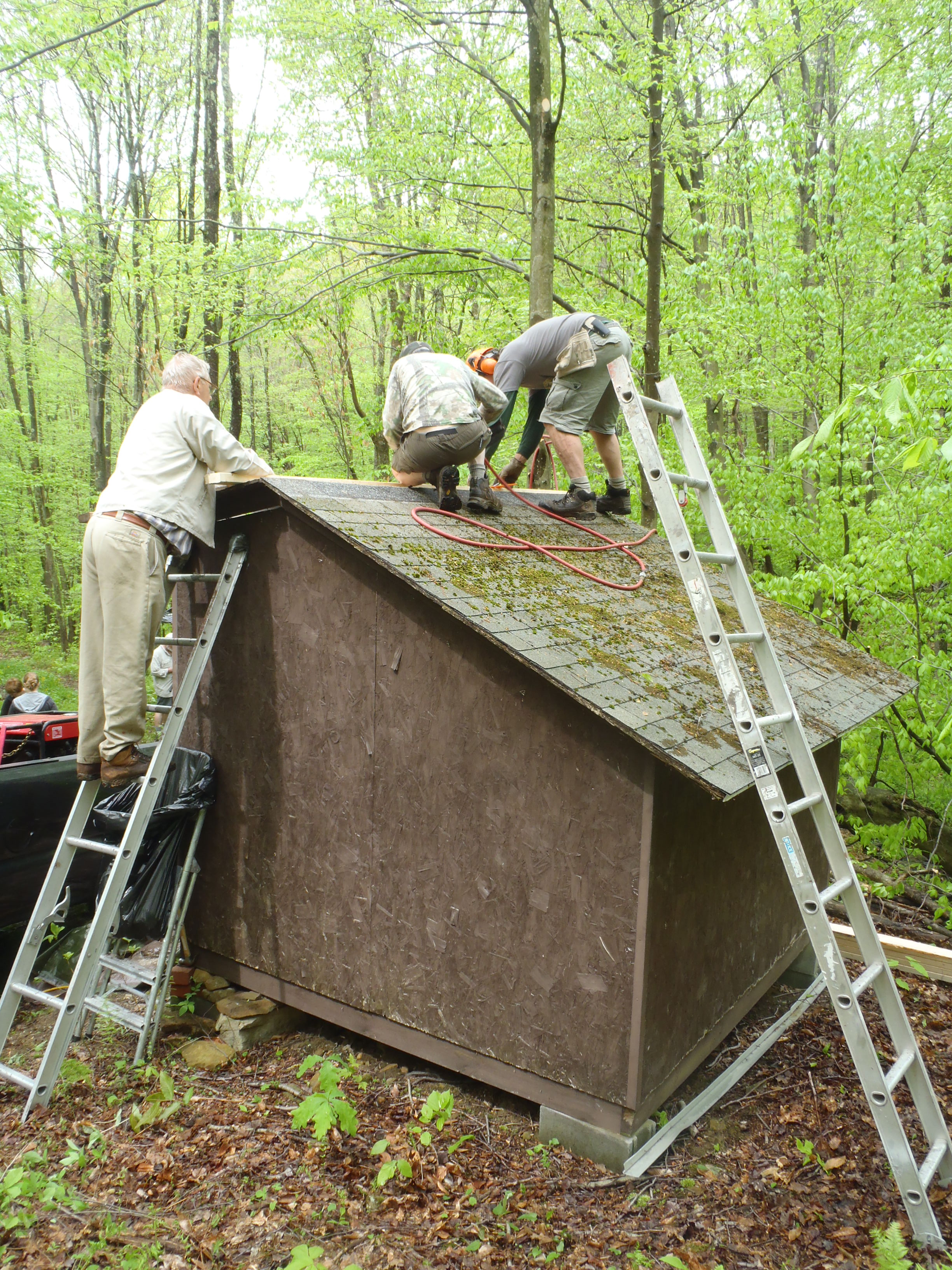 Lantz Ridge shelter roof before replacement