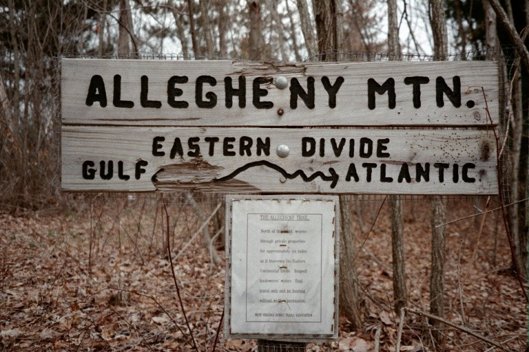 Bear territorial marking on an Allegheny Trail sign - By Doug Wood