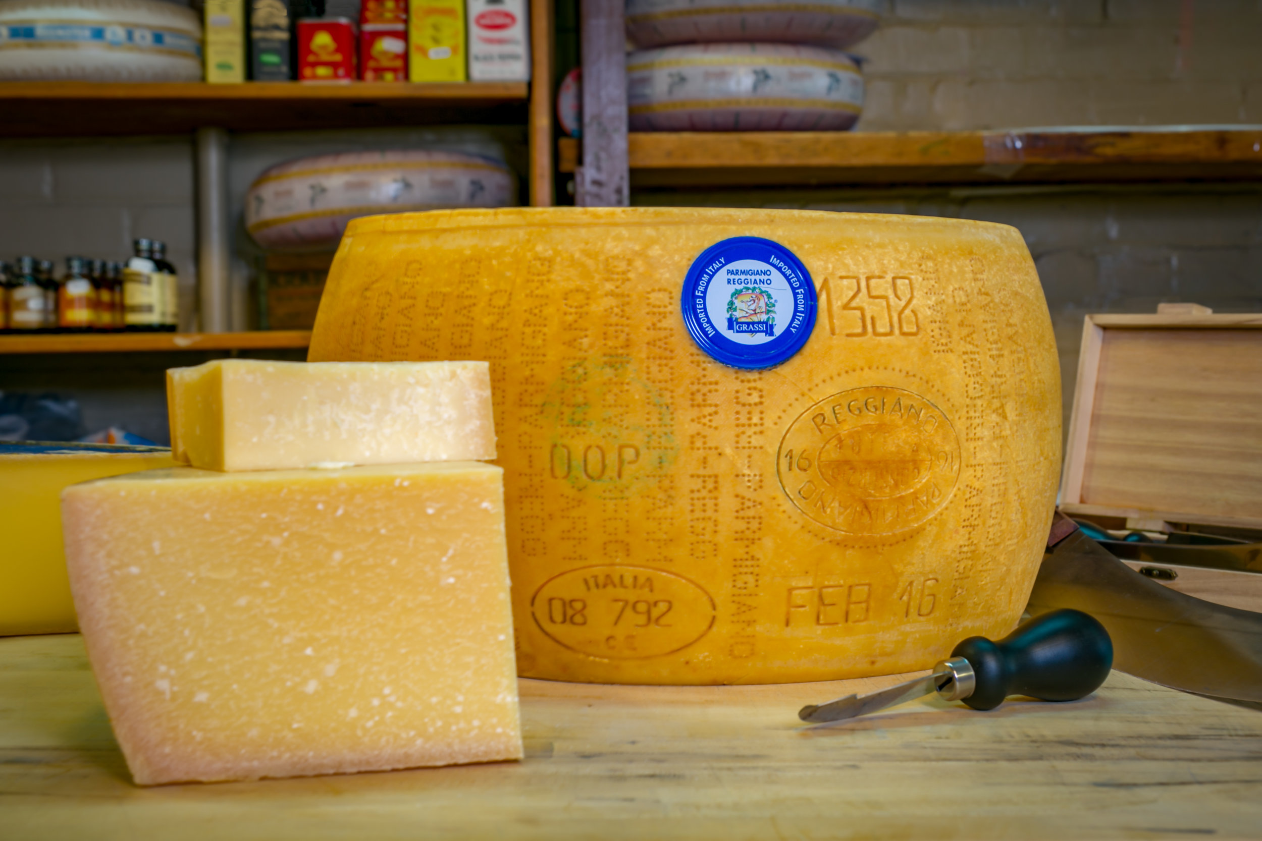 Parmesean Reggiano from Italy.  We purchase 90 lb wheels and cut them open on site to ensure the freshest cheese possible.
