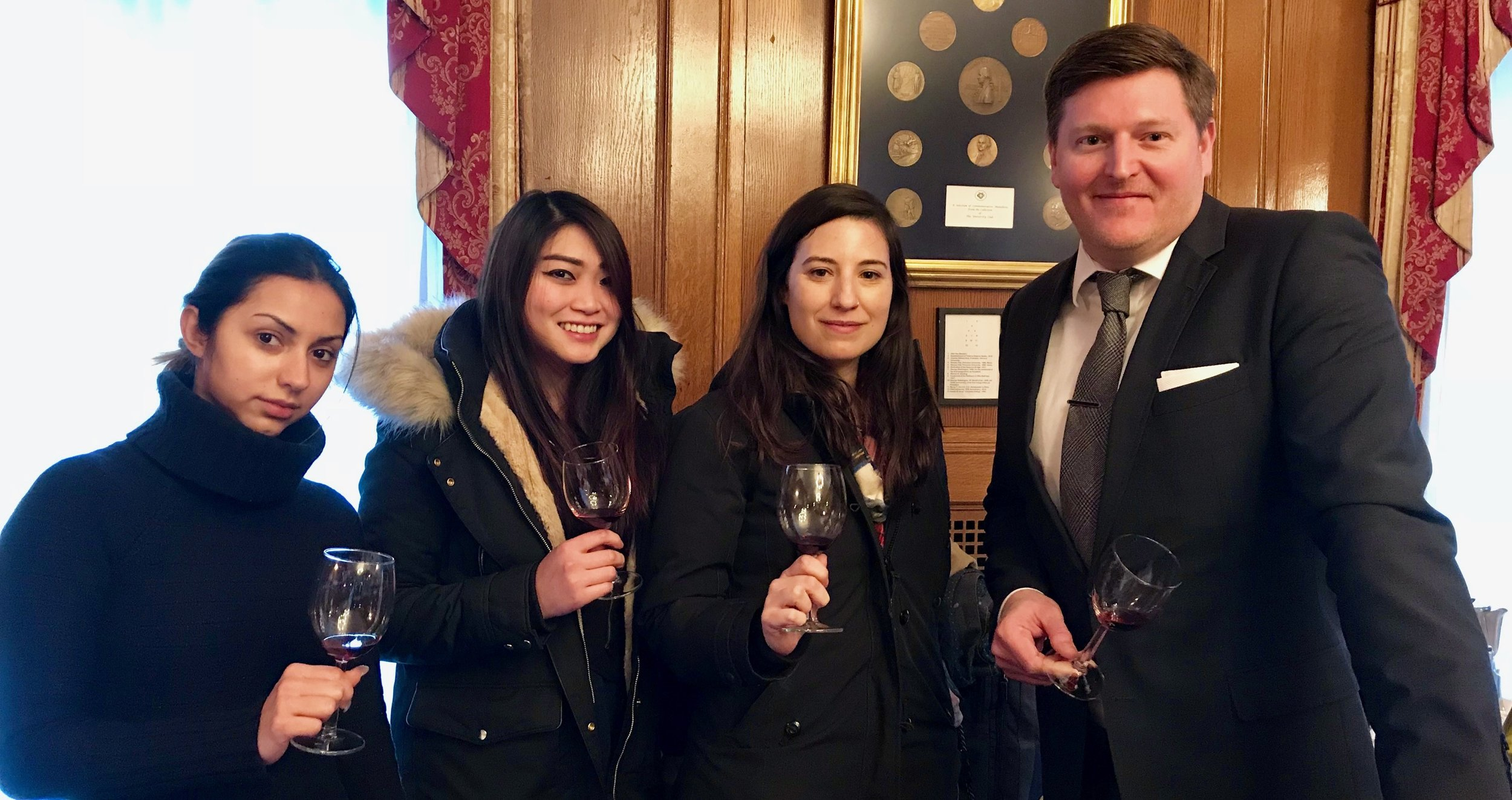 Dylan York, CS, with Sommelier Certificate Course students enjoying more California wines after class
