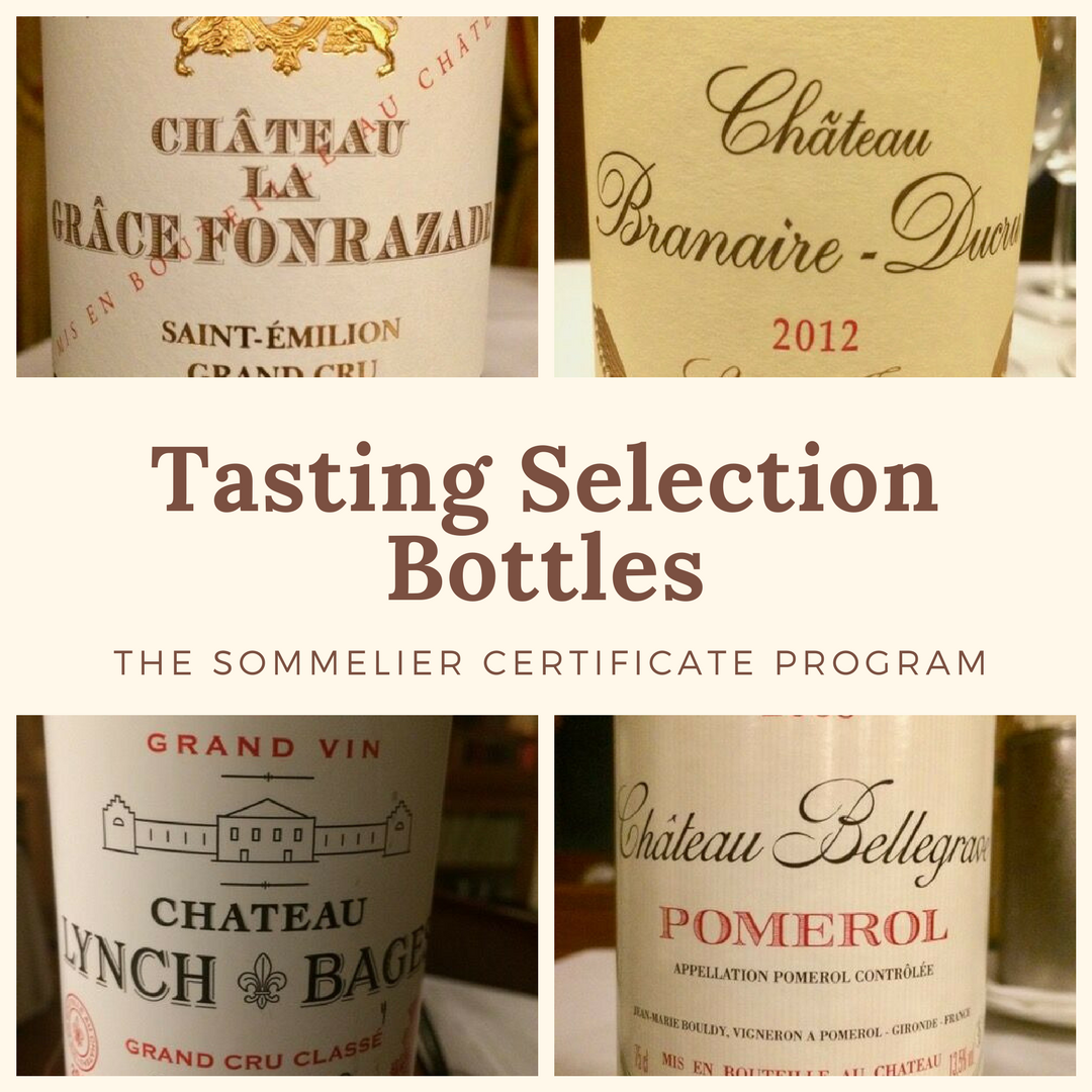 Top left: Chateau Grace Fonrazade, St.-Emilion Grand Cru 2014 (retail $56)   Top right:  Branaire-Ducru, St.-Julien 2012 (retail $56)   Bottom left: Chateau Lynch-Bages, Pauillac 2011 (retail $120)   Bottom right: Chateau Bellegrave, Pomerol 2009 (  retail $50)
