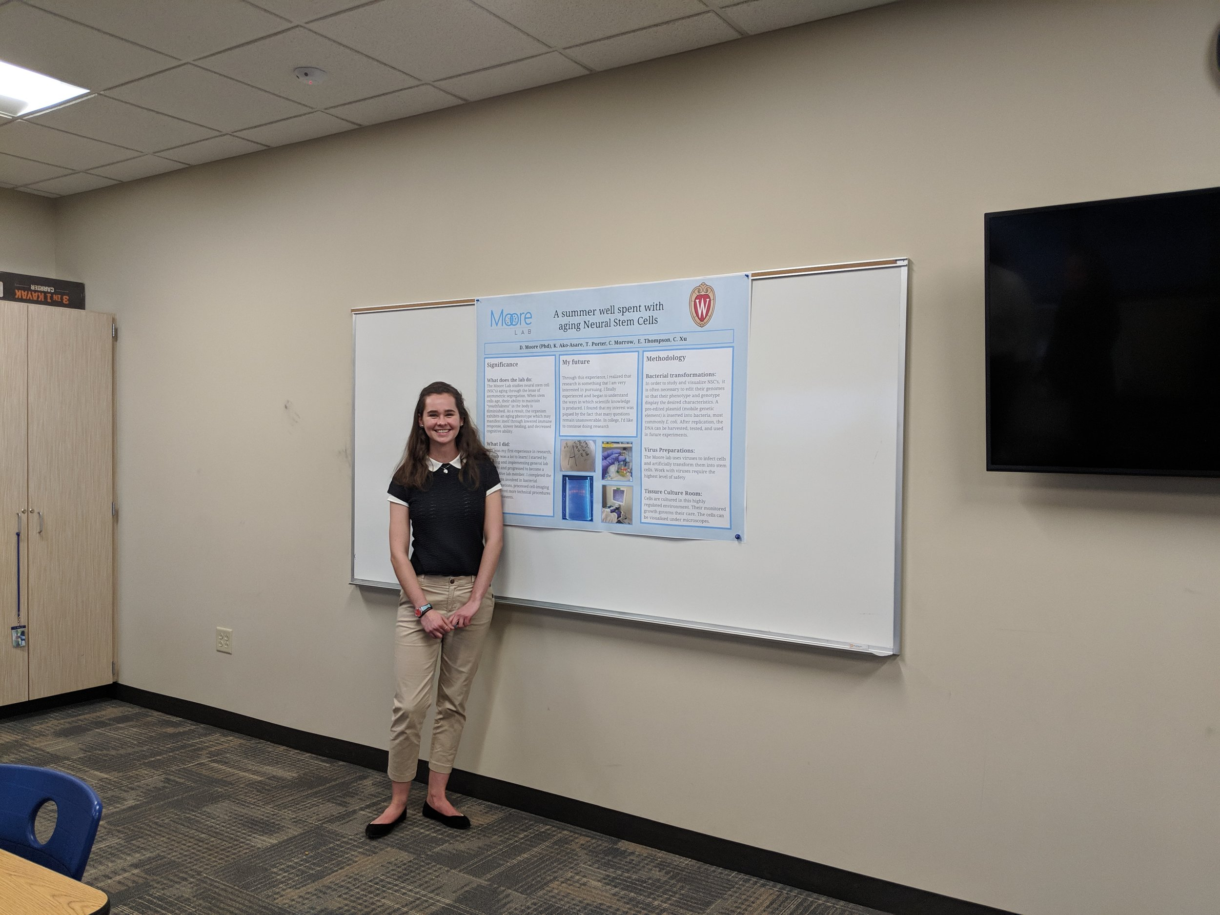 Our high school senior, Victoria, presents her summer research experience.