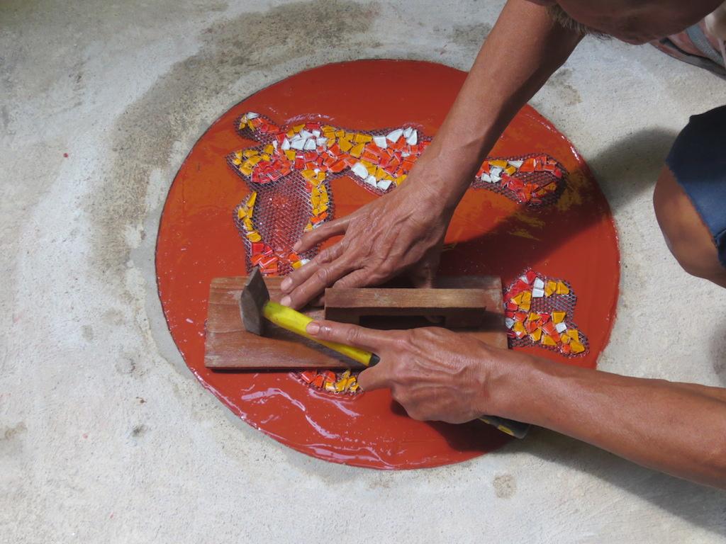 Community builders: beautiful mosaic at the Dancing House in Nang Lerng, Bangkok