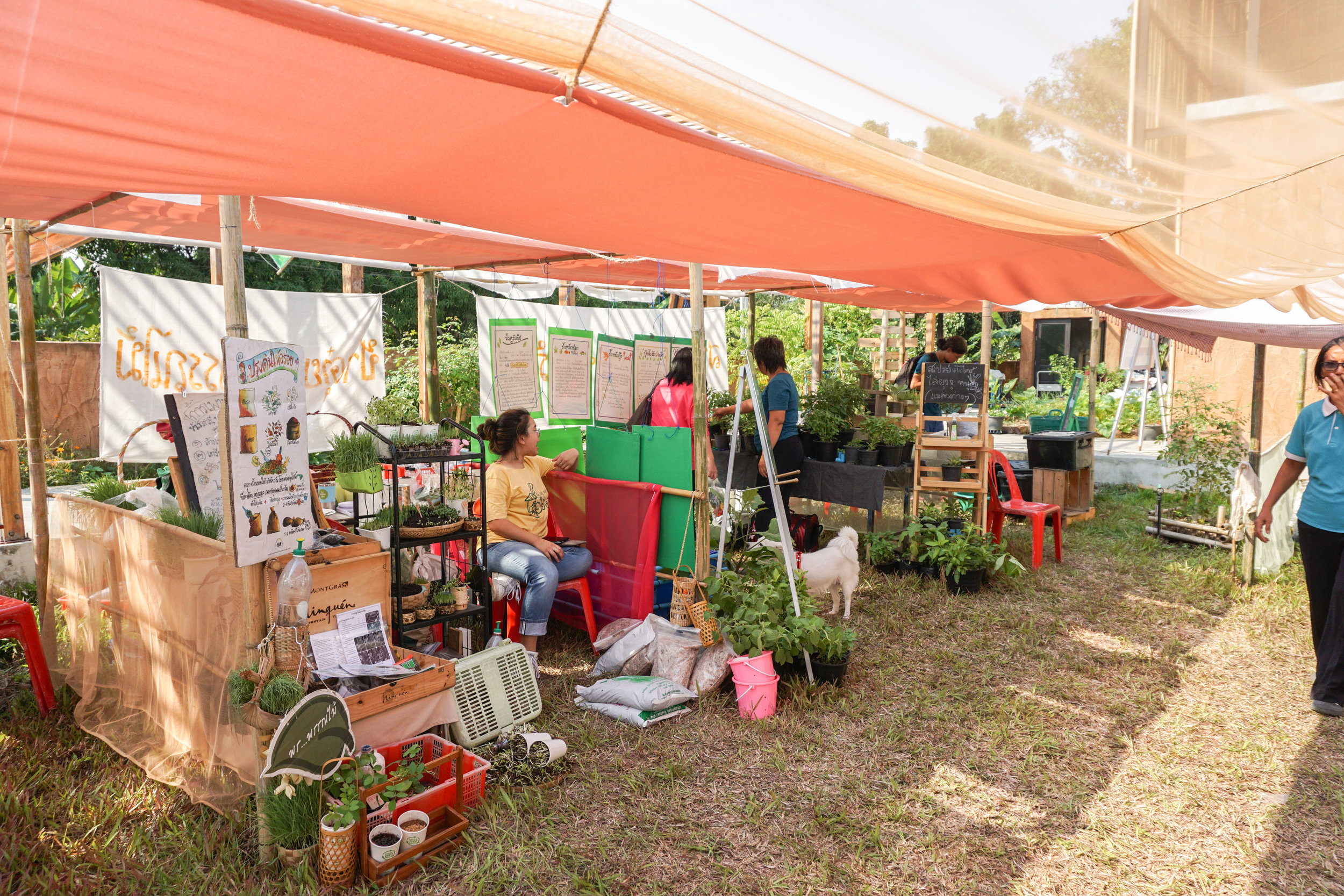 Exhibitors at the Thai City Farm Festival on organic farming