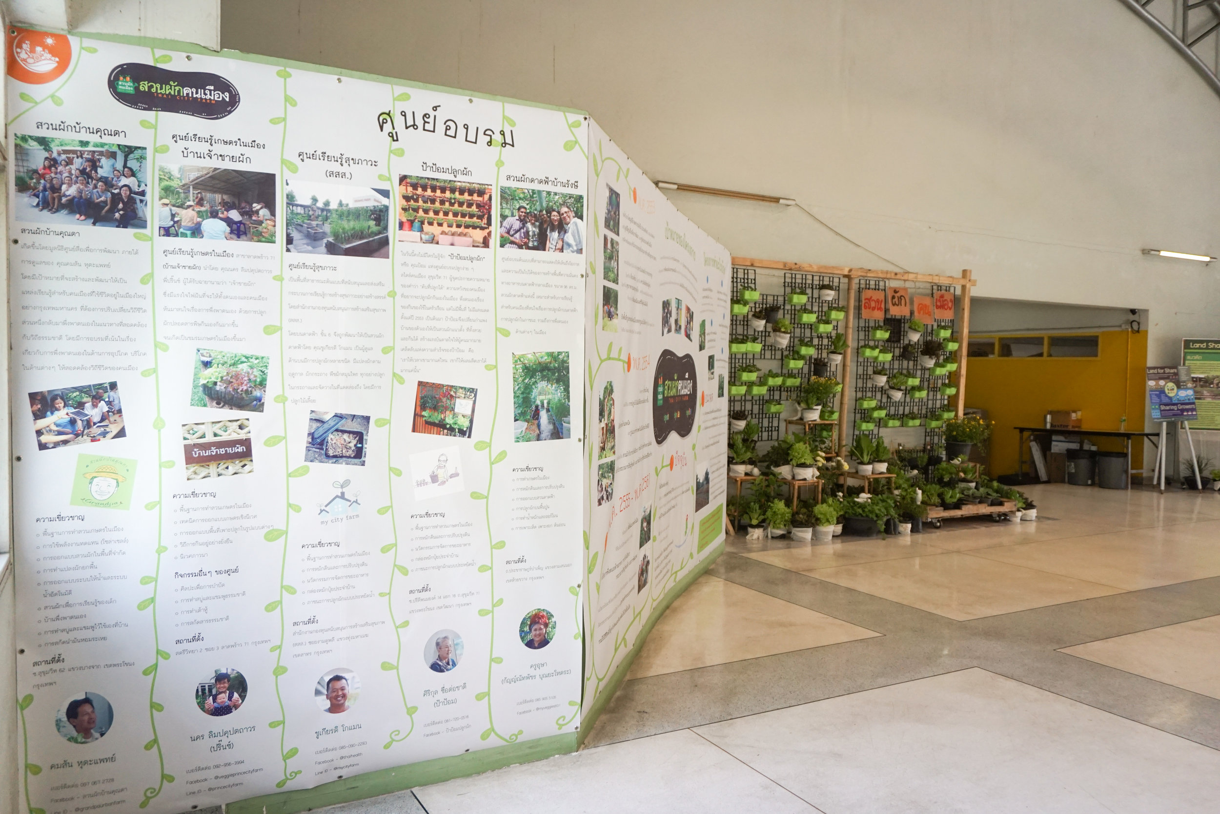 City Farming for a Sustainable City Event: Big board introducing urban farming projects and nodes around Thailand