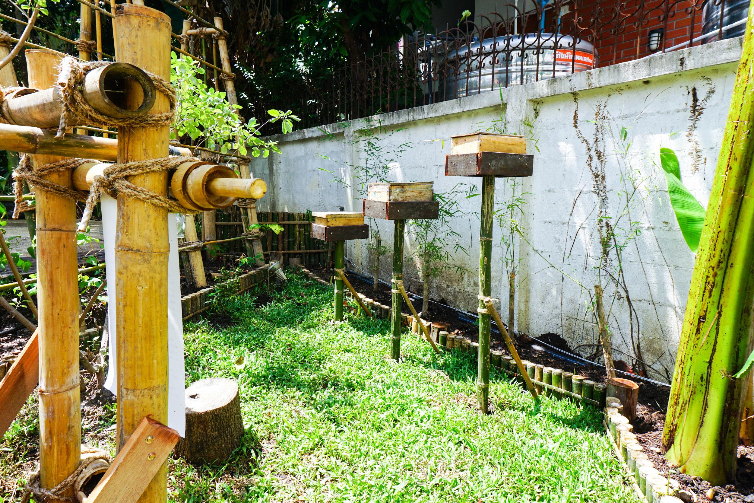 Bo.lan Edible Garden: Bee hives in ZONE F - The Wood & Bees Garden