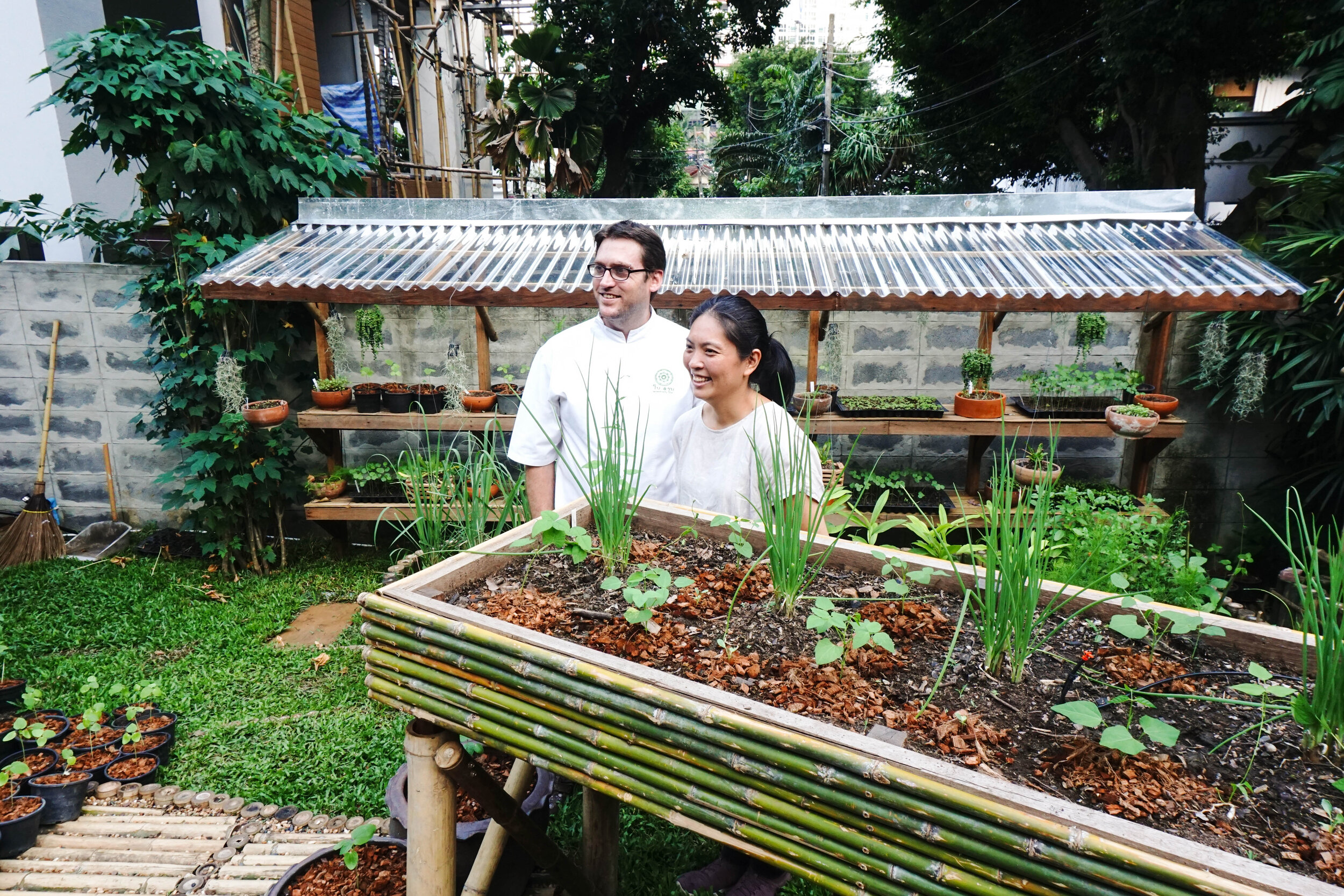 Bo.lan Edible Garden: Chefs Duangporn Songvisava (Bo) and Dylan Jones (lan)