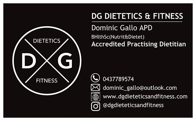 DG Dietetics & Fitness offers a range of services aimed at improving your overall  health and wellbeing through evidence based nutrition therapy. • Evidence based nutrition counselling for a range of issues, such as - Diabetes - Heart disease/blood pressure/cholesterol - IBS/Gastrointestinal problems - Food allergies and intolerances • Sports nutrition - Recovery - Hydration - Protein/supplements - Meal planning • Healthy eating advice - Lifecycle nutrition to age group - Weight loss - Education regarding fad diets  Servicing the Wangaratta and North-East Victoria area.  For more information call Dominic on 0437789574 or visit our website at www.dgdieteticsandfitness.com
